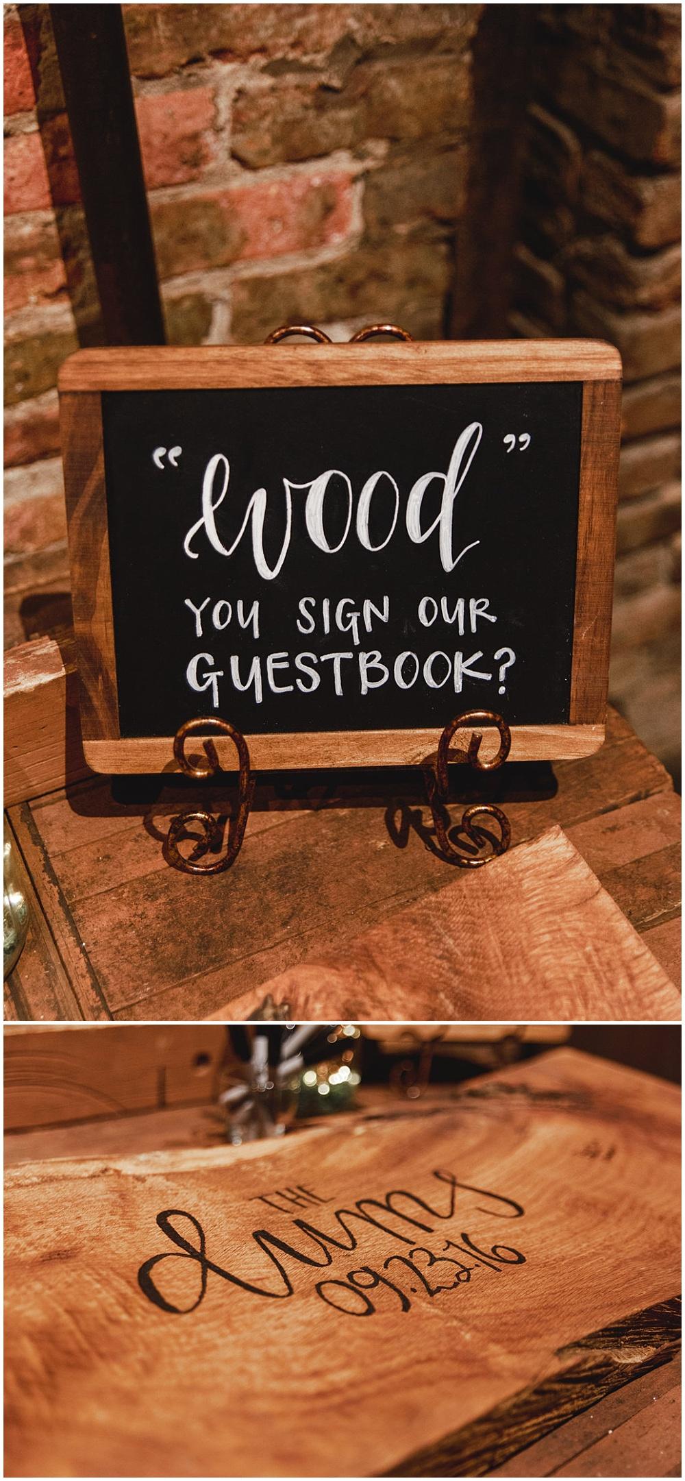 Personalized wood guestbook bench   Chicago urban rustic wedding   Sandra Armenteros Photography + Jessica Dum Wedding Coordination