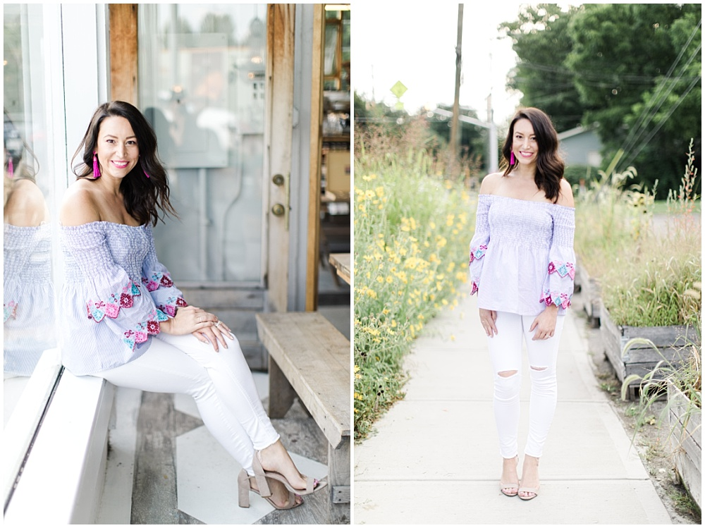 Lead Wedding Coordinator; Professional Wedding Coordinator Team Photos; Off the shoulder blue top with pink earrings and soft curls | Ivan & Louise Images