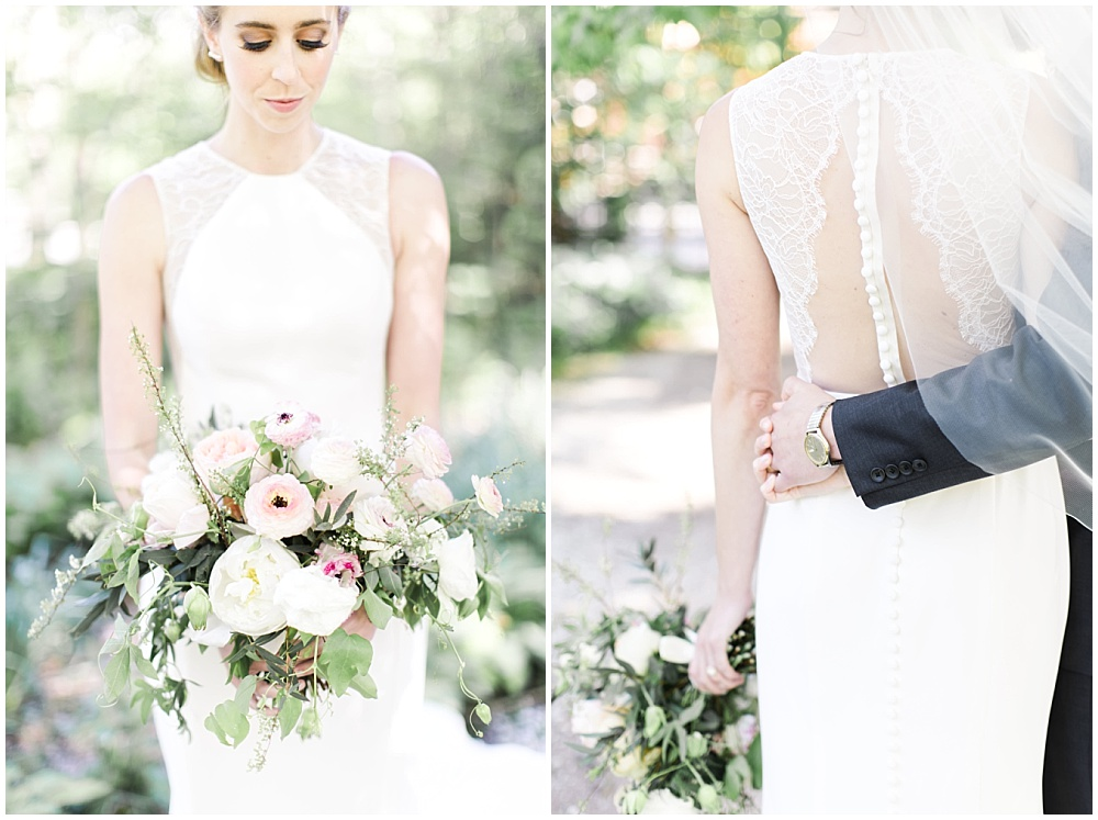 Spring blush, white and green bridal bouquet, lace BHLDN wedding dress, , Spring floral + gold wedding | Ivan & Louise Images | Jessica Dum Wedding Coordination