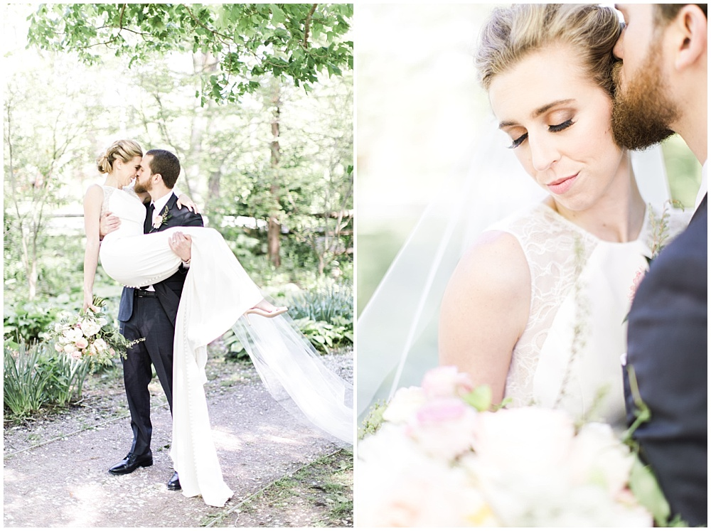 bride and groom portraits; bride's smokey eye makeup; white lace BHLDN wedding dress; Spring floral + gold wedding | Ivan & Louise Images | Jessica Dum Wedding Coordination