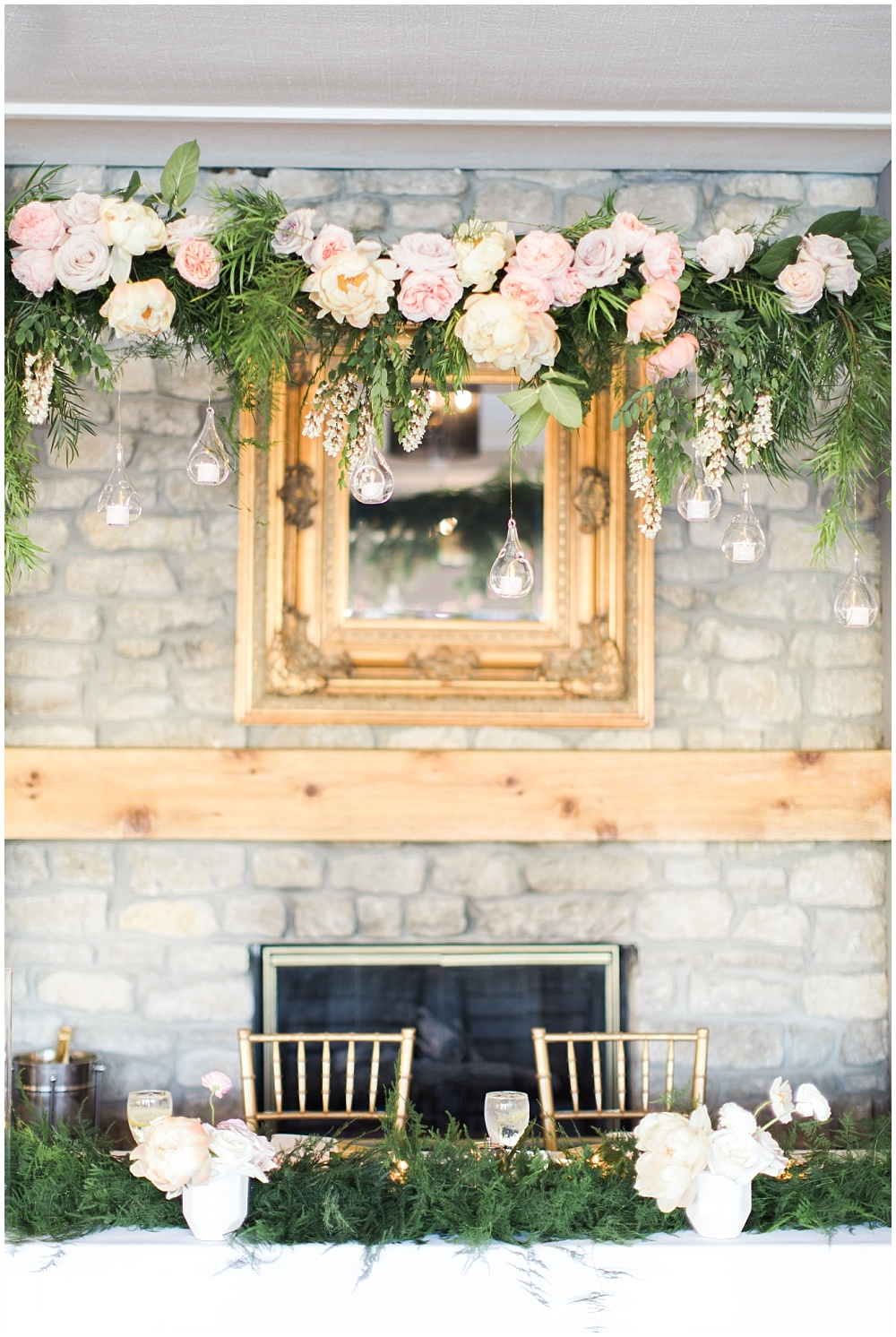 Spring floral gold wedding with ivan louise images head table suspended florals blush peach and purple wedding flowers spring floral mightylinksfo