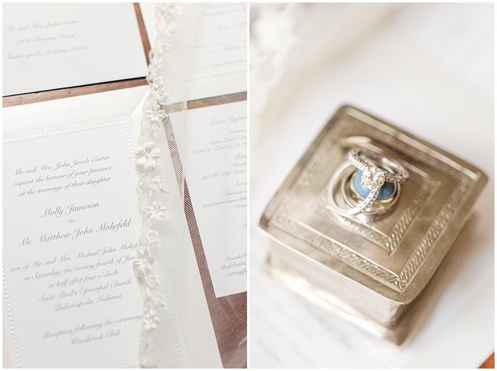 Classic white wedding invitation; antique silver ring box with wedding rings   Sami Renee Photography + Jessica Dum Wedding Coordination
