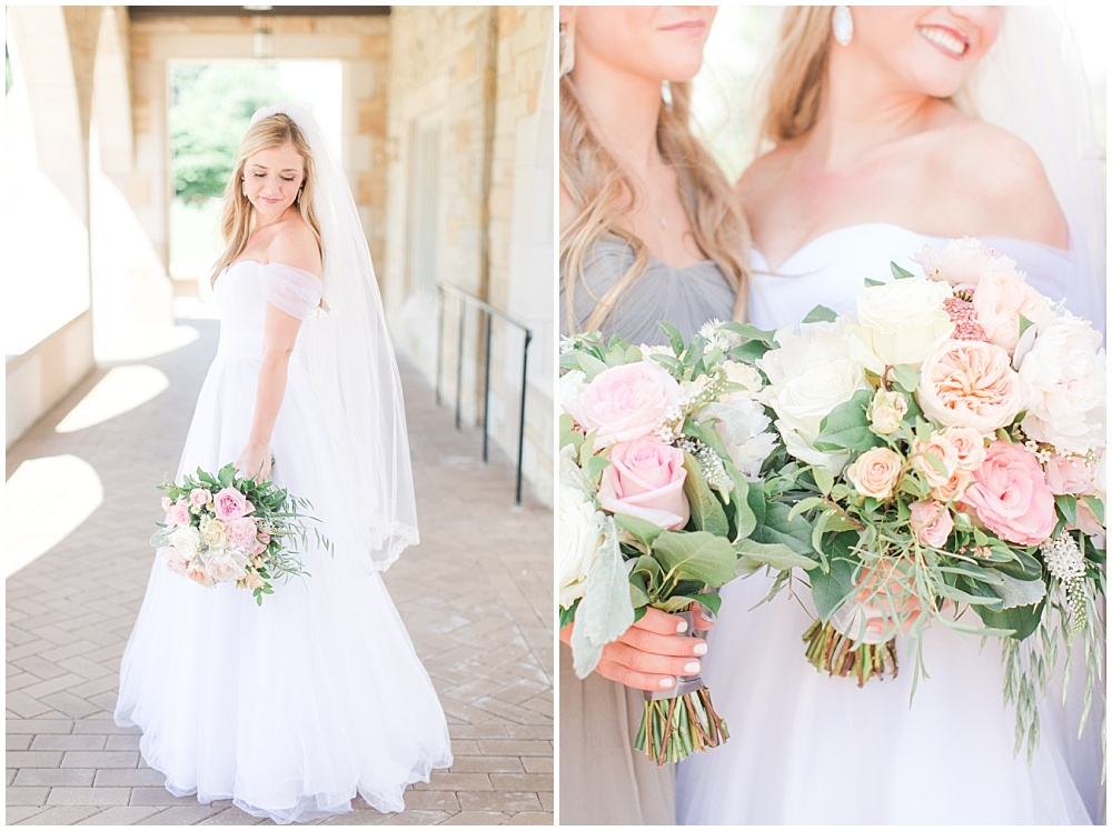 Classic white bridal gown with blush, white and green bouquets   Sami Renee Photography + Jessica Dum Wedding Coordination