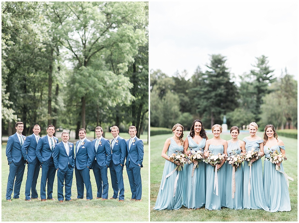 blue bridesmaid dresses; blue groomsmen tuxes; bridal party; Mexican inspired gold & floral wedding; Crowne Plaza Indianapolis Downtown Union Station; neutral floral and greenery wedding|Cory + Jackie and Jessica Dum Wedding Coordination