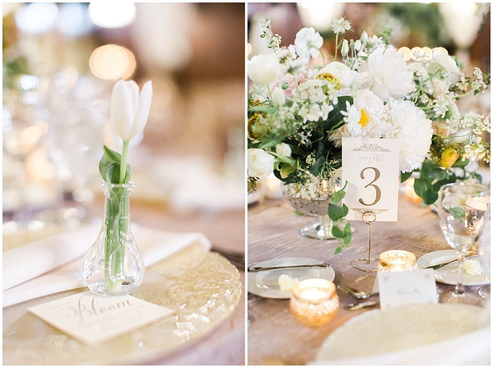individual white flower at each guest place setting; glass vanilla lace BBJ Linen chargers; white and gold table numbers with stands; Scottish Rite Cathedral Indianapolis Wedding; neutral floral and greenery wedding| Ivan & Louise Images and Jessica Dum Wedding Coordination