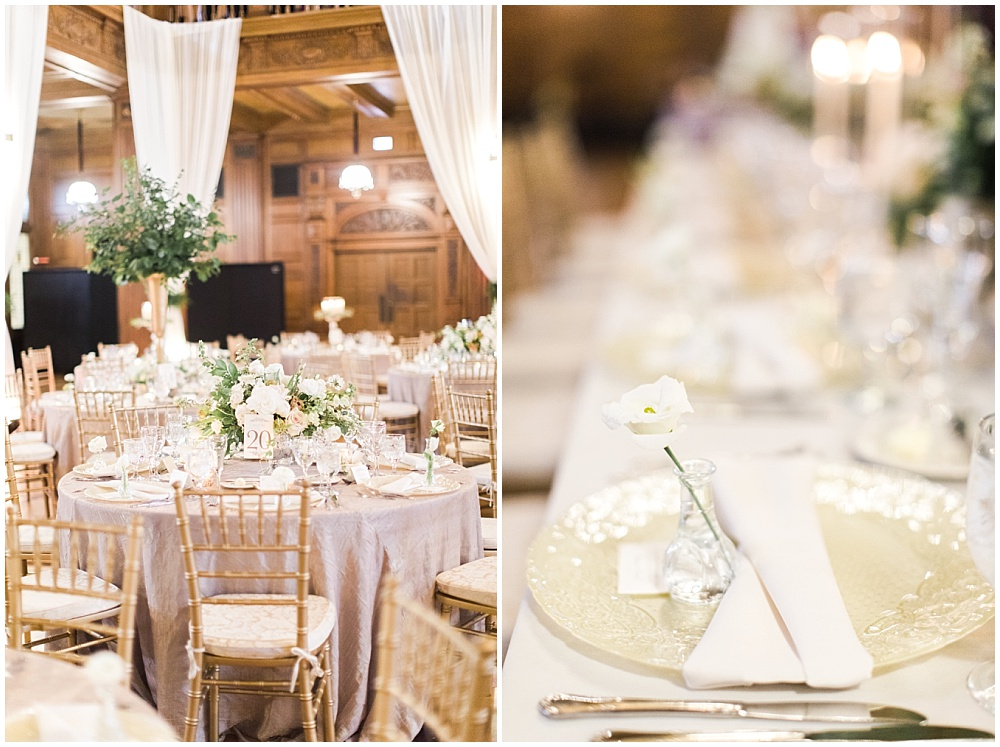 individual white flower with bud vase at each guest place setting; glass vanilla lace BBJ Linen chargers; gold and ivory wedding tablescape; Scottish Rite Cathedral Indianapolis Wedding; neutral floral and greenery wedding| Ivan & Louise Images and Jessica Dum Wedding Coordination