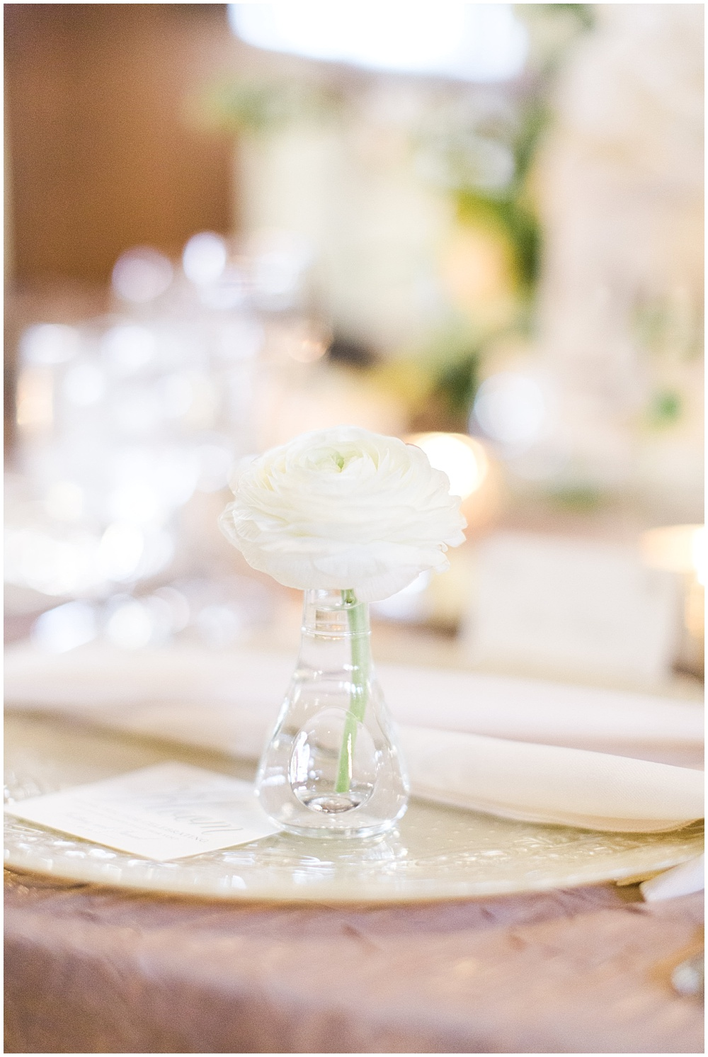 Individual bud vases at each guest place setting; glass vanilla lace BBJ Linen chargers; Scottish Rite Cathedral Indianapolis Wedding; neutral floral and greenery wedding| Ivan & Louise Images and Jessica Dum Wedding Coordination