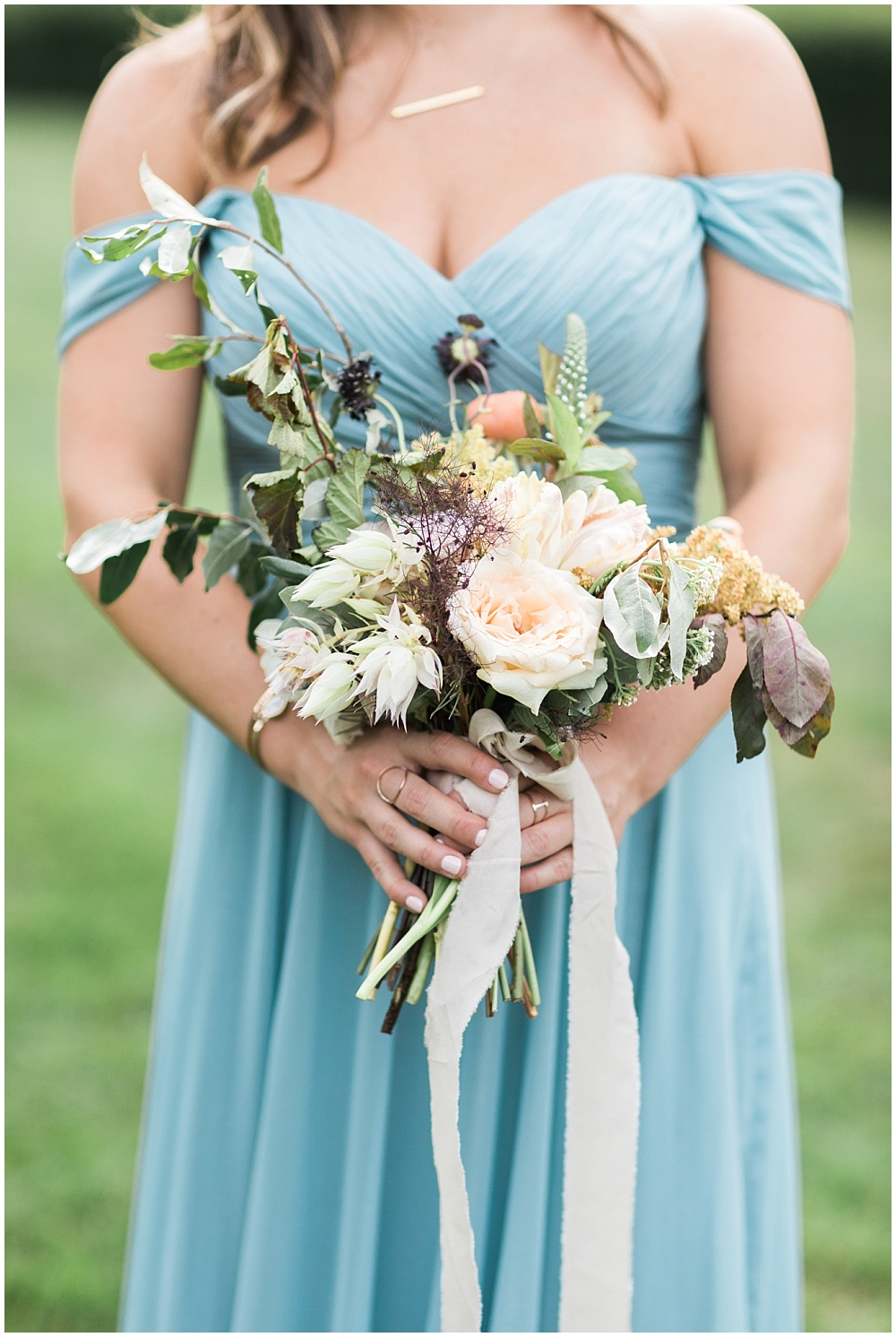 blue bridesmaid dress; off-the-shoulder bridesmaid dress; organic-looking neutral bouquet; Mexican inspired gold & floral wedding; Crowne Plaza Indianapolis Downtown Union Station; neutral floral and greenery wedding|Cory + Jackie and Jessica Dum Wedding Coordination
