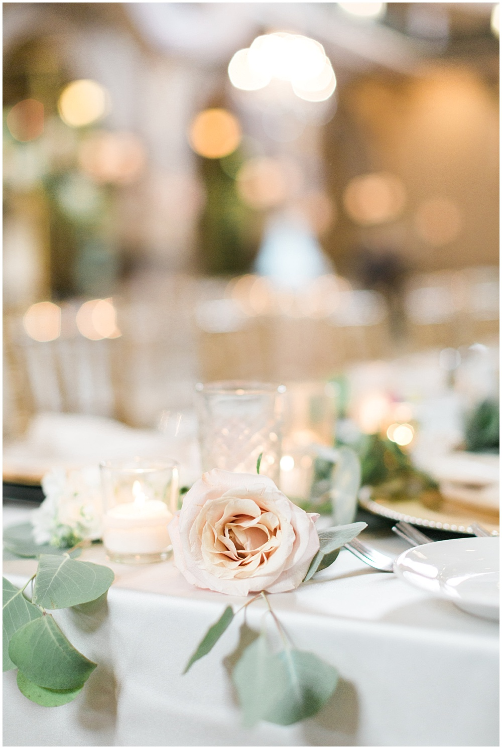 blush and green tablecape; Mexican inspired gold & floral wedding; Crowne Plaza Indianapolis Downtown Union Station; neutral floral and greenery wedding|Cory + Jackie and Jessica Dum Wedding Coordination