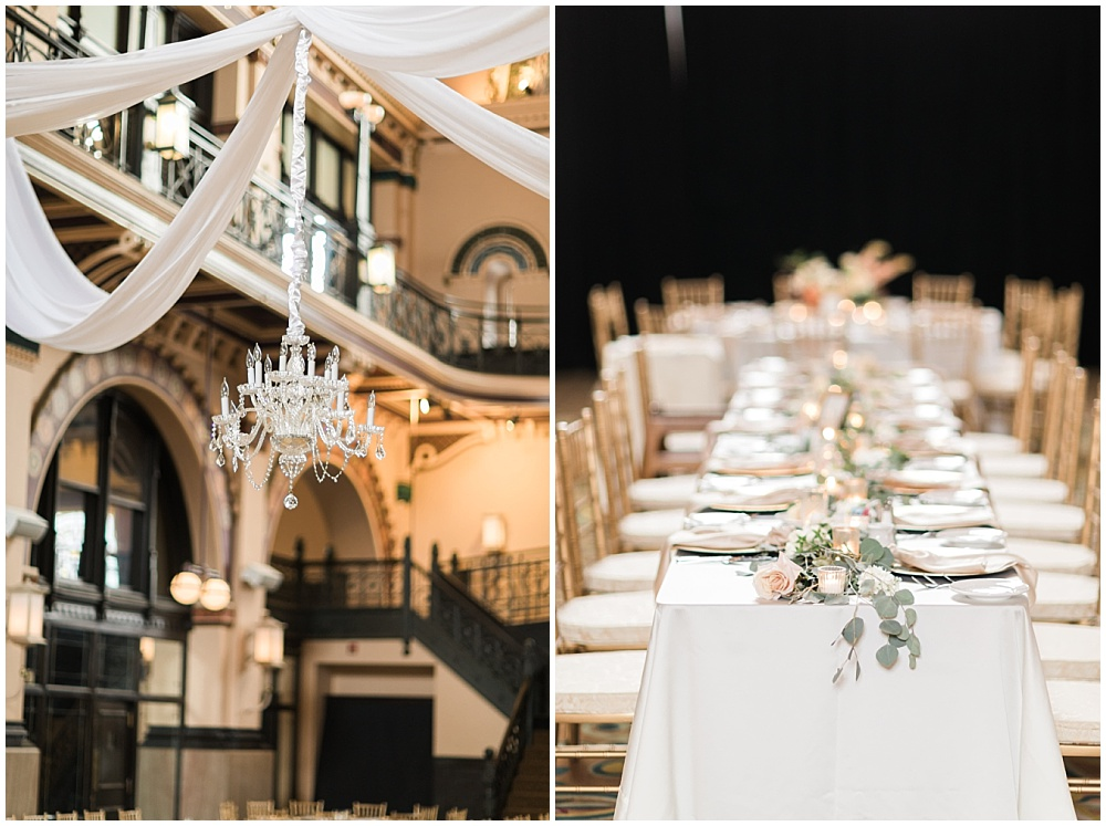 draped fabric with crystal chandelier above dance floor; draped greenery; Mexican inspired gold & floral wedding; Crowne Plaza Indianapolis Downtown Union Station; neutral floral and greenery wedding|Cory + Jackie and Jessica Dum Wedding Coordination