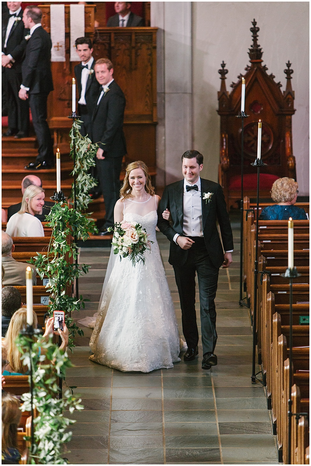 Second Presbyterian Church; bride and groom; Navy + blush wedding; Scottish Rite Cathedral| Traci & Troy Photography and Jessica Dum Wedding Coordination