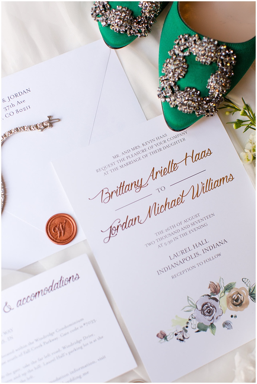 invitation suite; invitation details; white invitation suite; floral invitation; watercolor invitation; custom wax seal; white wedding; green wedding shoes | Outdoor Terrace Wedding, Laurel Hall - Danielle Harris Photography; Jessica Dum Wedding Coordination