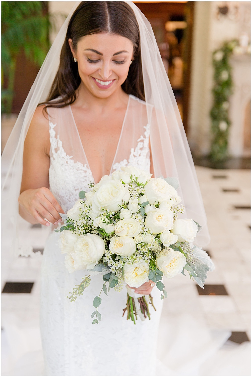bridal portraits; white lace wedding dress; white wedding; white bridal bouquet | Outdoor Terrace Wedding, Laurel Hall - Danielle Harris Photography; Jessica Dum Wedding Coordination