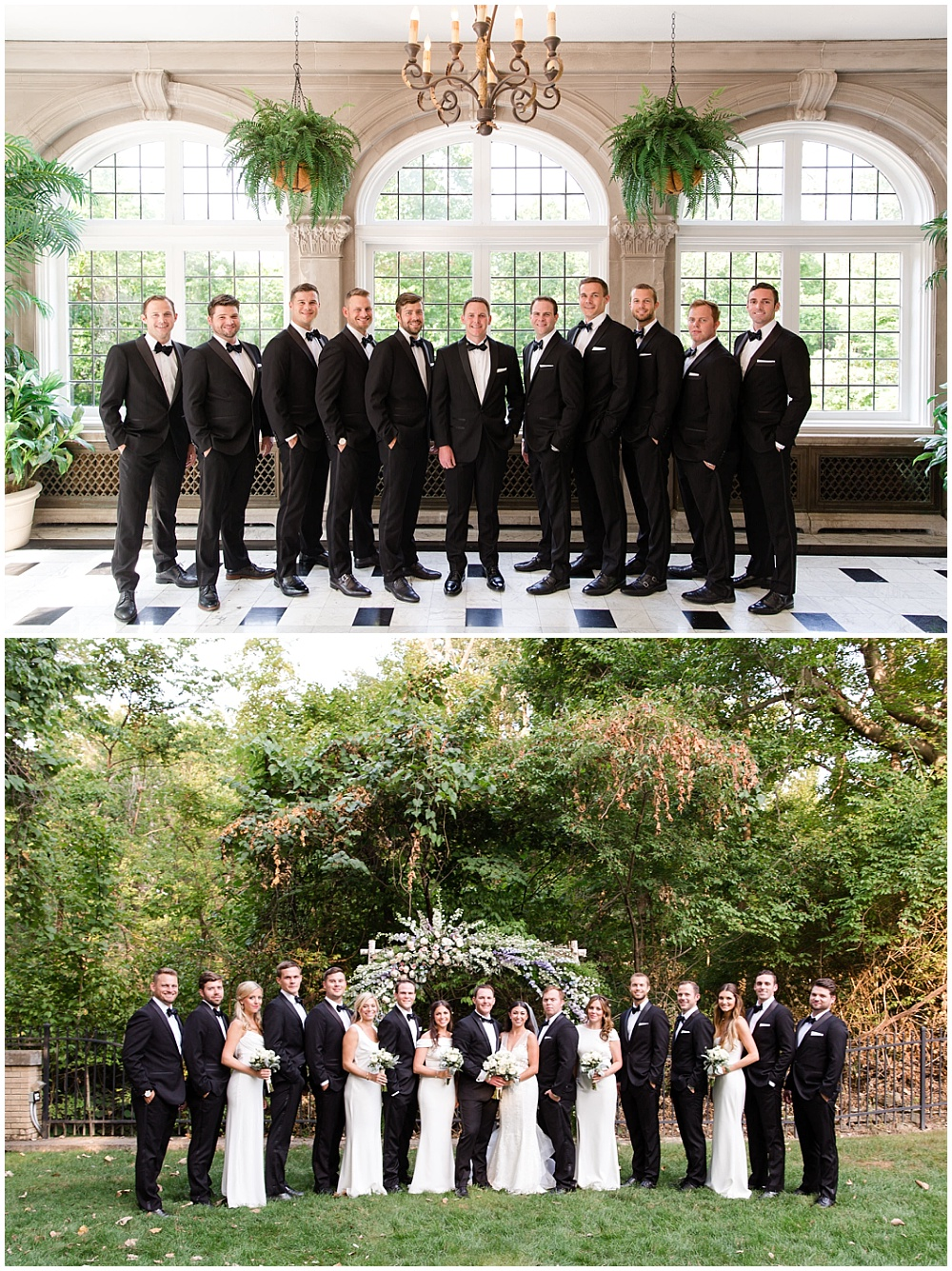 groomsmen; black tuxes; bridal party portraits; white bridesmaid dresses | Outdoor Terrace Wedding, Laurel Hall - Danielle Harris Photography; Jessica Dum Wedding Coordination