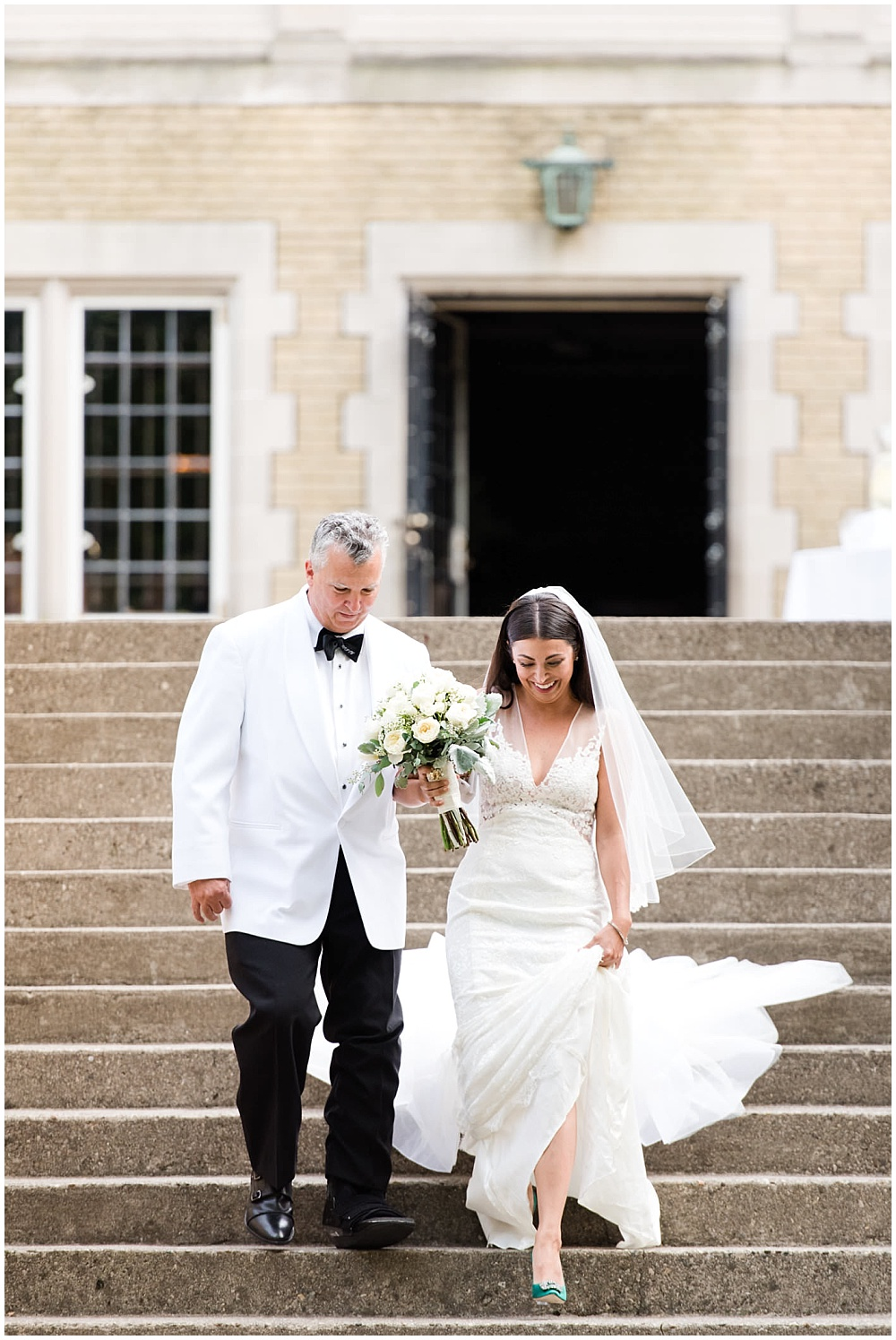 bride and father of the bride; white lace wedding dress; white bridal bouquet; white wedding; white tux | Outdoor Terrace Wedding, Laurel Hall - Danielle Harris Photography; Jessica Dum Wedding Coordination