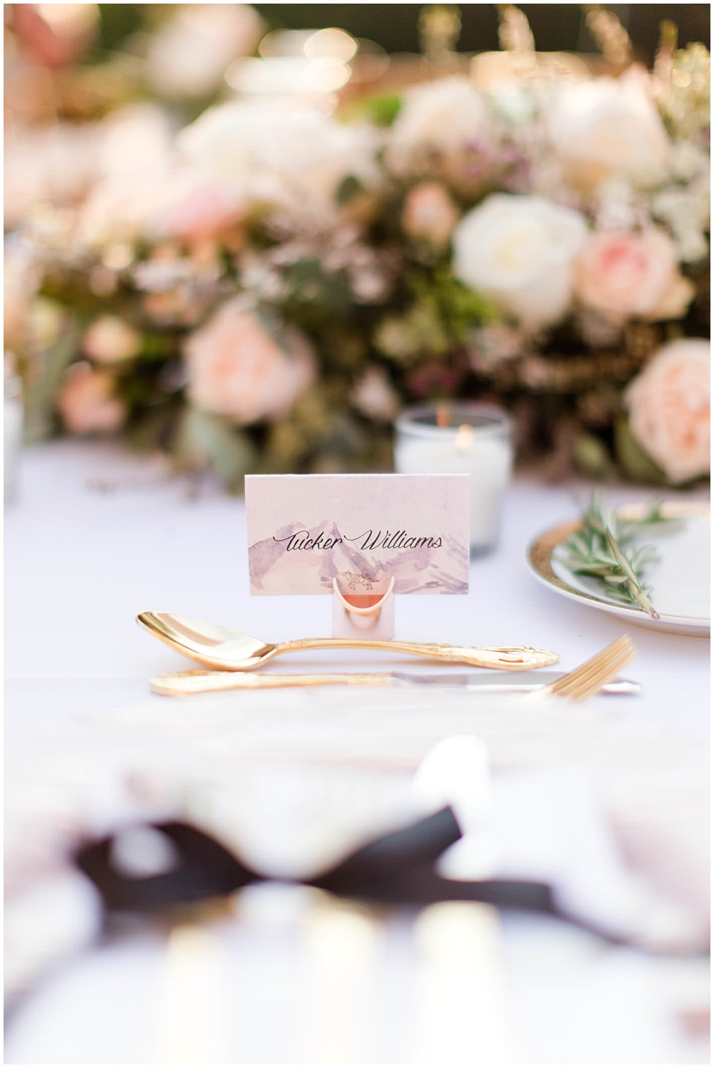 draped head table flowers; custom escort cards; rose toast with lavender sprig; rose gold chargers; gold flatware; mixed metallics; wedding tablescape; white wedding | Outdoor Terrace Wedding, Laurel Hall - Danielle Harris Photography; Jessica Dum Wedding Coordination