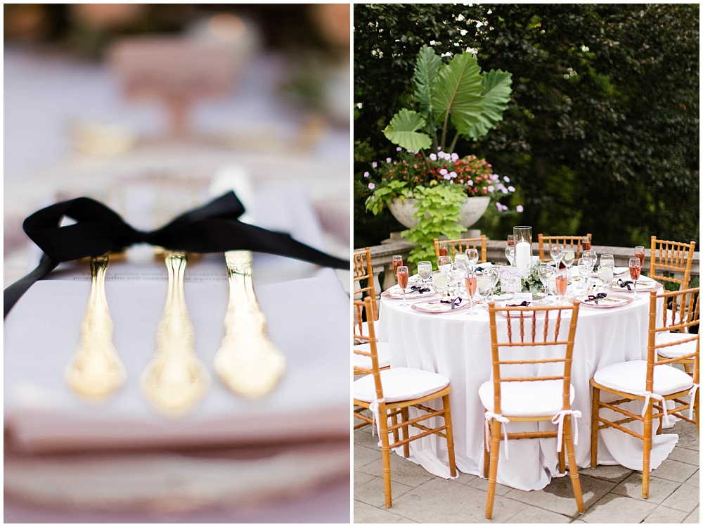 rose toast with lavender sprig; black ribbon napkin tie; rose gold chargers; gold flatware; mixed metallics; wedding tablescape; white wedding | Outdoor Terrace Wedding, Laurel Hall - Danielle Harris Photography; Jessica Dum Wedding Coordination