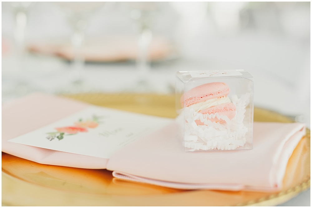 6 ways to elevate your wedding details; blush macarons; macaron favor; guest favors; place setting favor; boxed macarons; floral menu; watercolor menu; blush and gold wedding tablescape