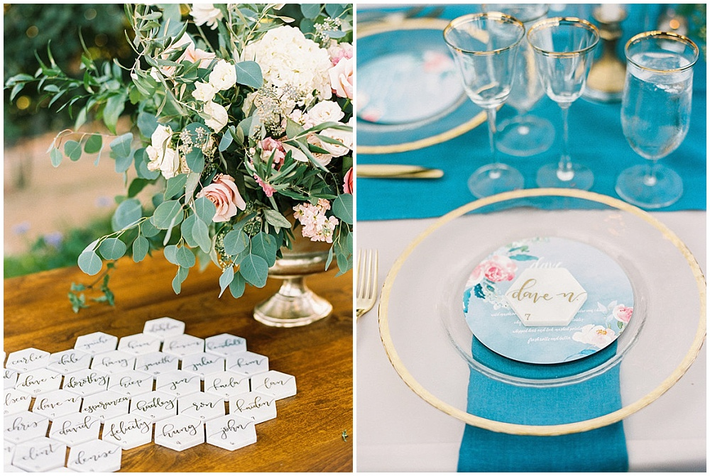 6 ways to elevate your wedding details; marble place cards; hexagon placecards; gold hand lettering; cobalt blue and gold wedding tablescape; gold rimmed chargers