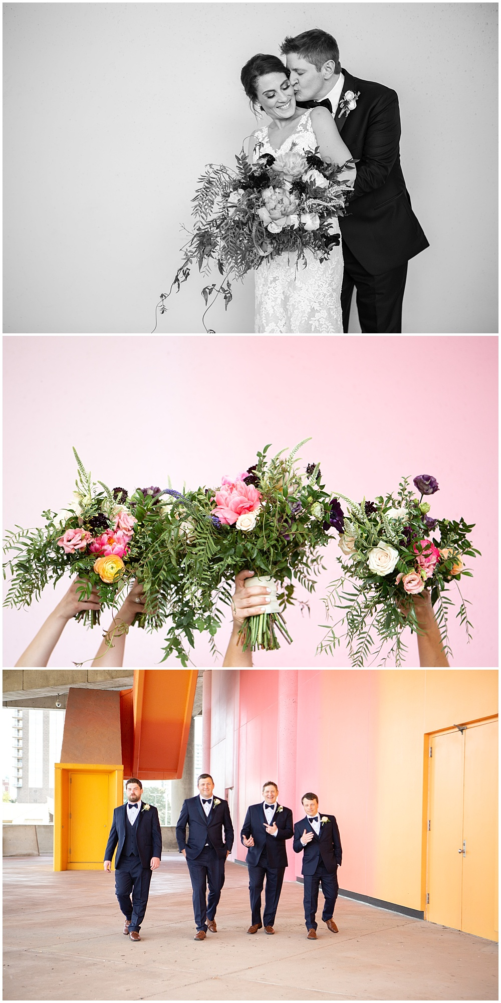 bold wedding flowers, bride and groom portraits, groomsmen, colorful wedding backdrop, Colorful, modern wedding at The Alexander Hotel | Conforti Photography and Jessica Dum Wedding Coordination