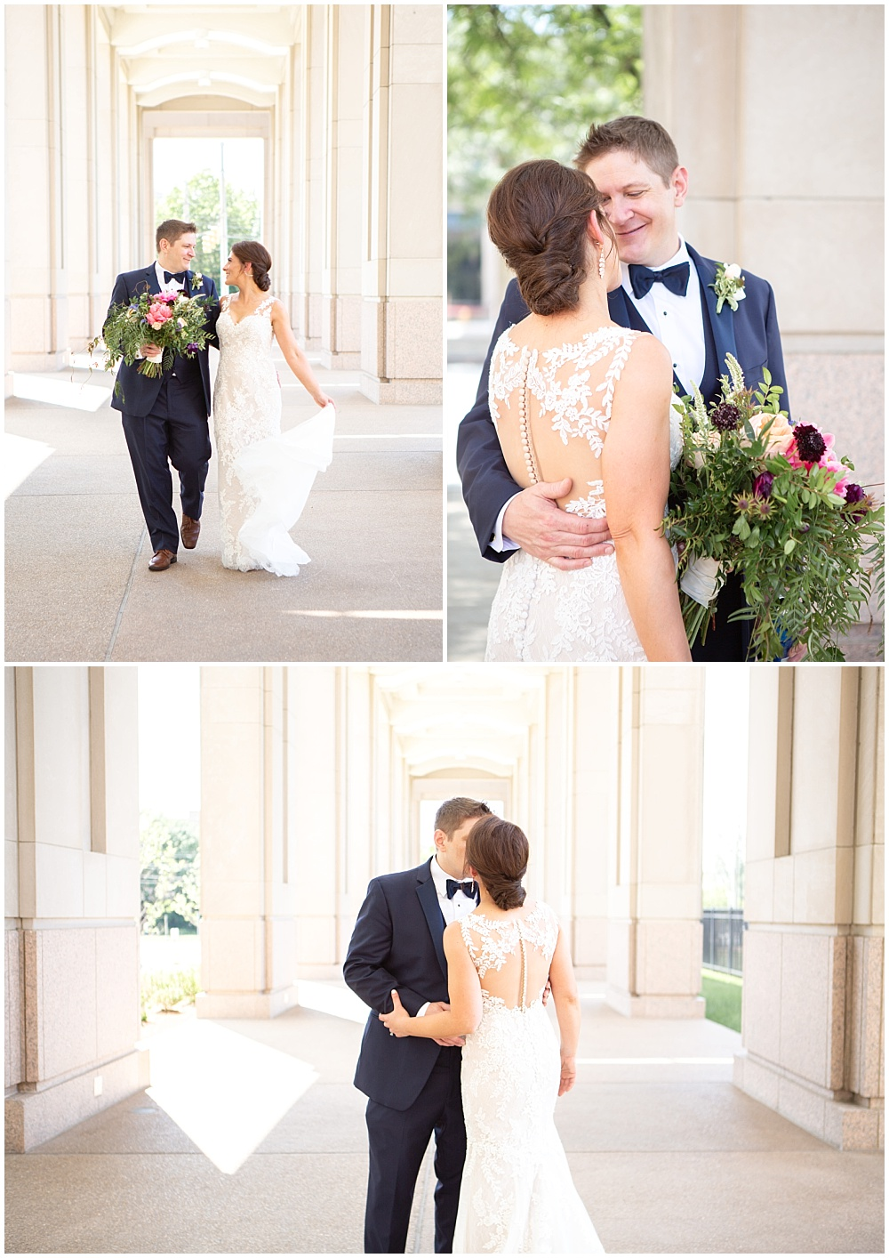 bride and groom portraits, white wedding dress, lace wedding dress, bridal gown, bold wedding flowers, Colorful, modern wedding at The Alexander Hotel | Conforti Photography and Jessica Dum Wedding Coordination