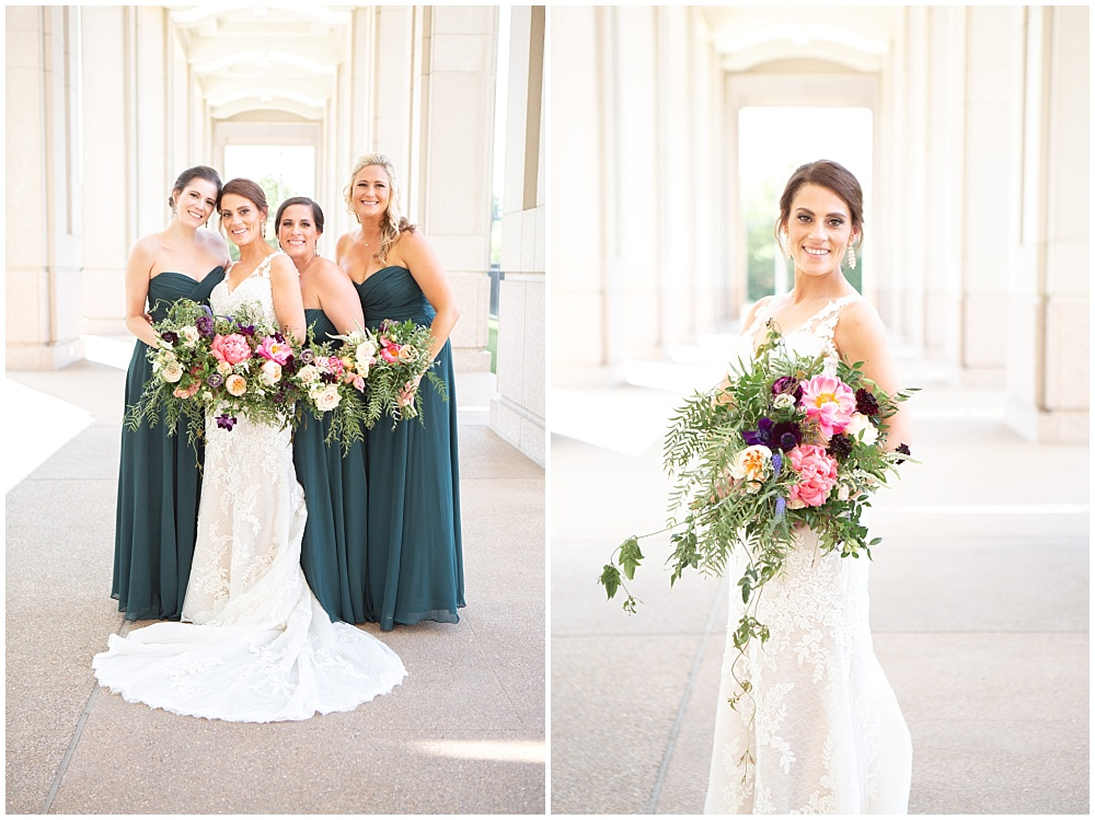 bridal portraits, bridesmaids, teal bridesmaid dresses, bright flowers, bold wedding flowers, Colorful, modern wedding at The Alexander Hotel | Conforti Photography and Jessica Dum Wedding Coordination