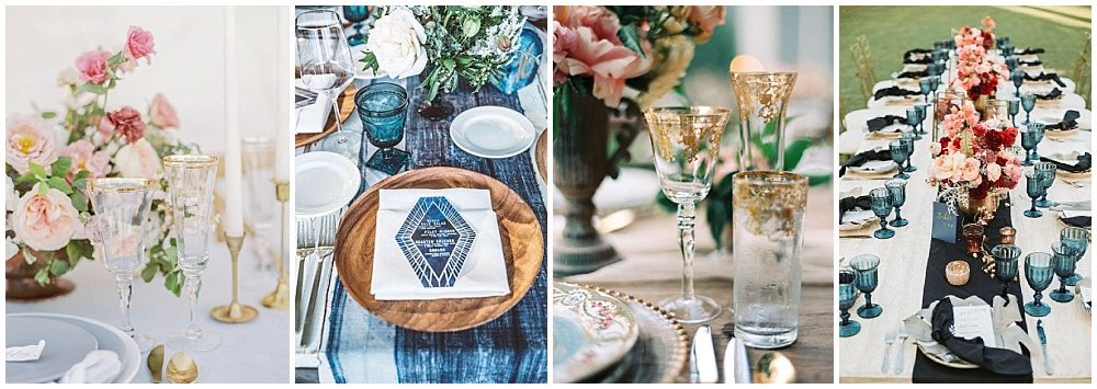 Wedding reception decor ideas that make a big impact | reception table ideas, reception drinkware, gold glassware, colored goblets, white goblets, gold rimmed glassware