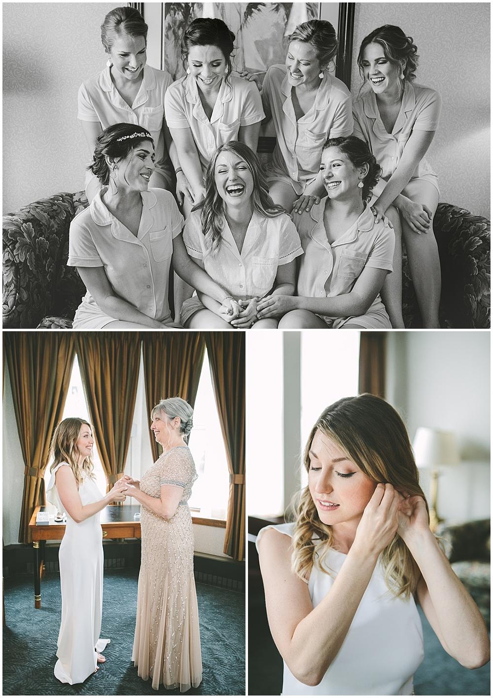 A garden-inspired Purdue University wedding | Purdue alumni wedding, shively club wedding, boilermaker wedding, blush wedding, bridesmaids getting ready, bridal details, bridal portraits