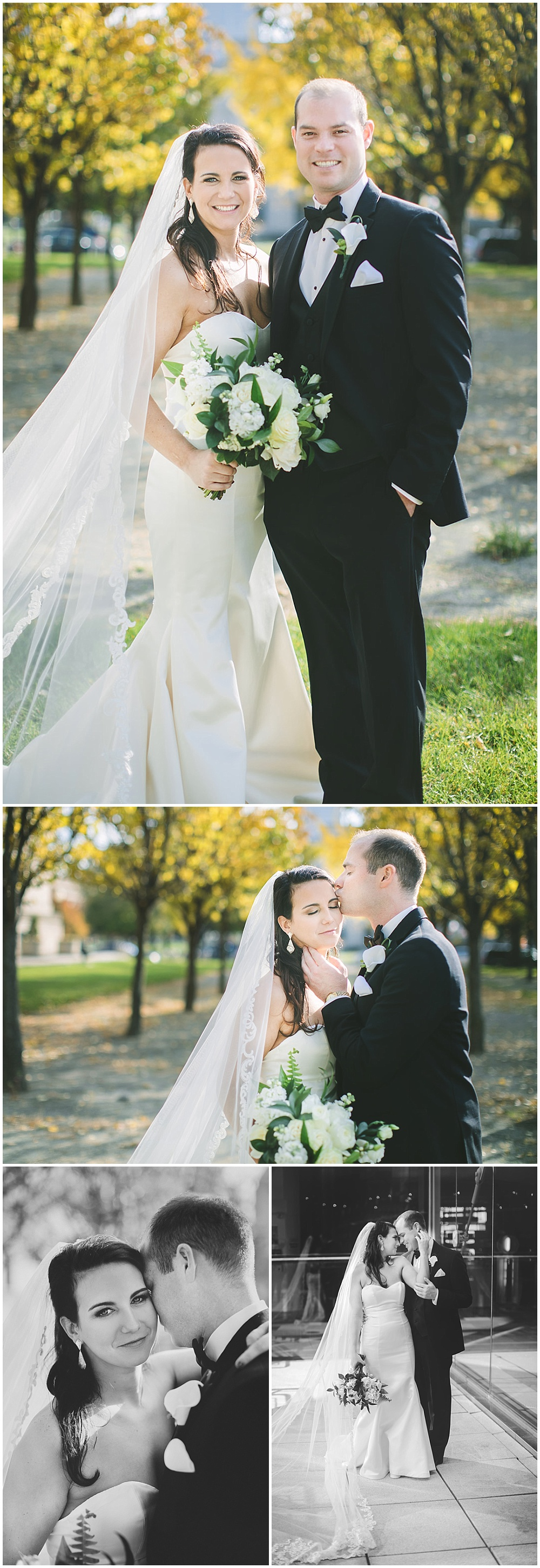 A timeless, modern wedding celebration at the Indianapolis Public Library. Fall outdoor bride and groom portraits. | Jessica Dum Wedding Coordination