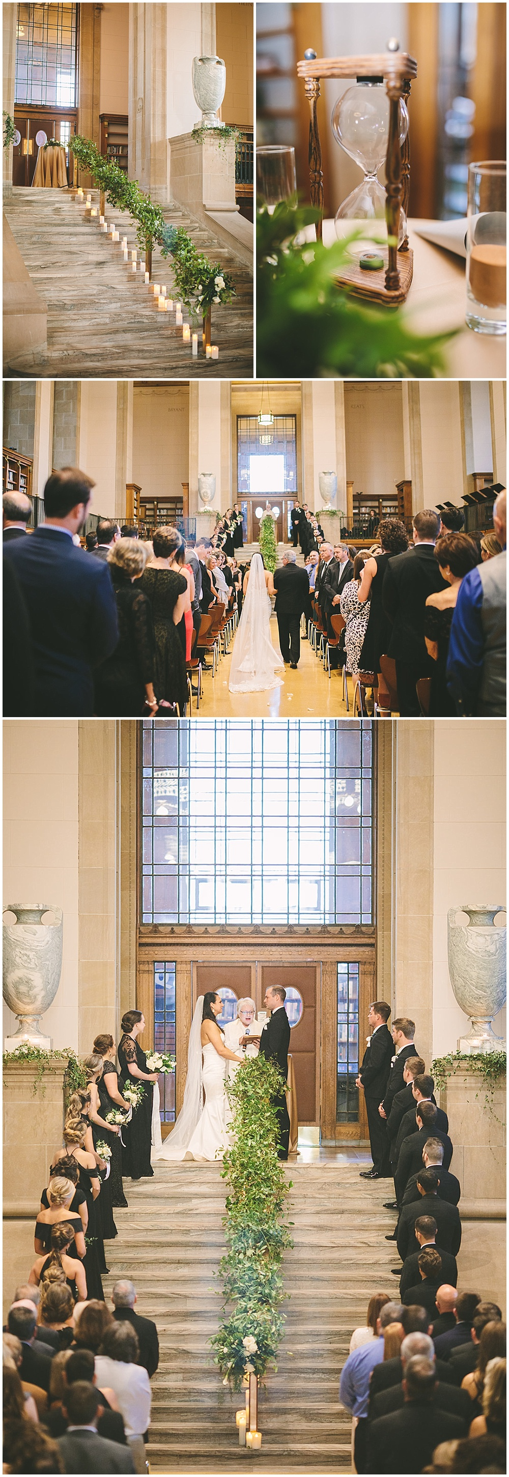 A timeless, modern wedding celebration at the Indianapolis Public Library. A black and white wedding with gold accents and draped greenery down the ceremony aisle. | Jessica Dum Wedding Coordination