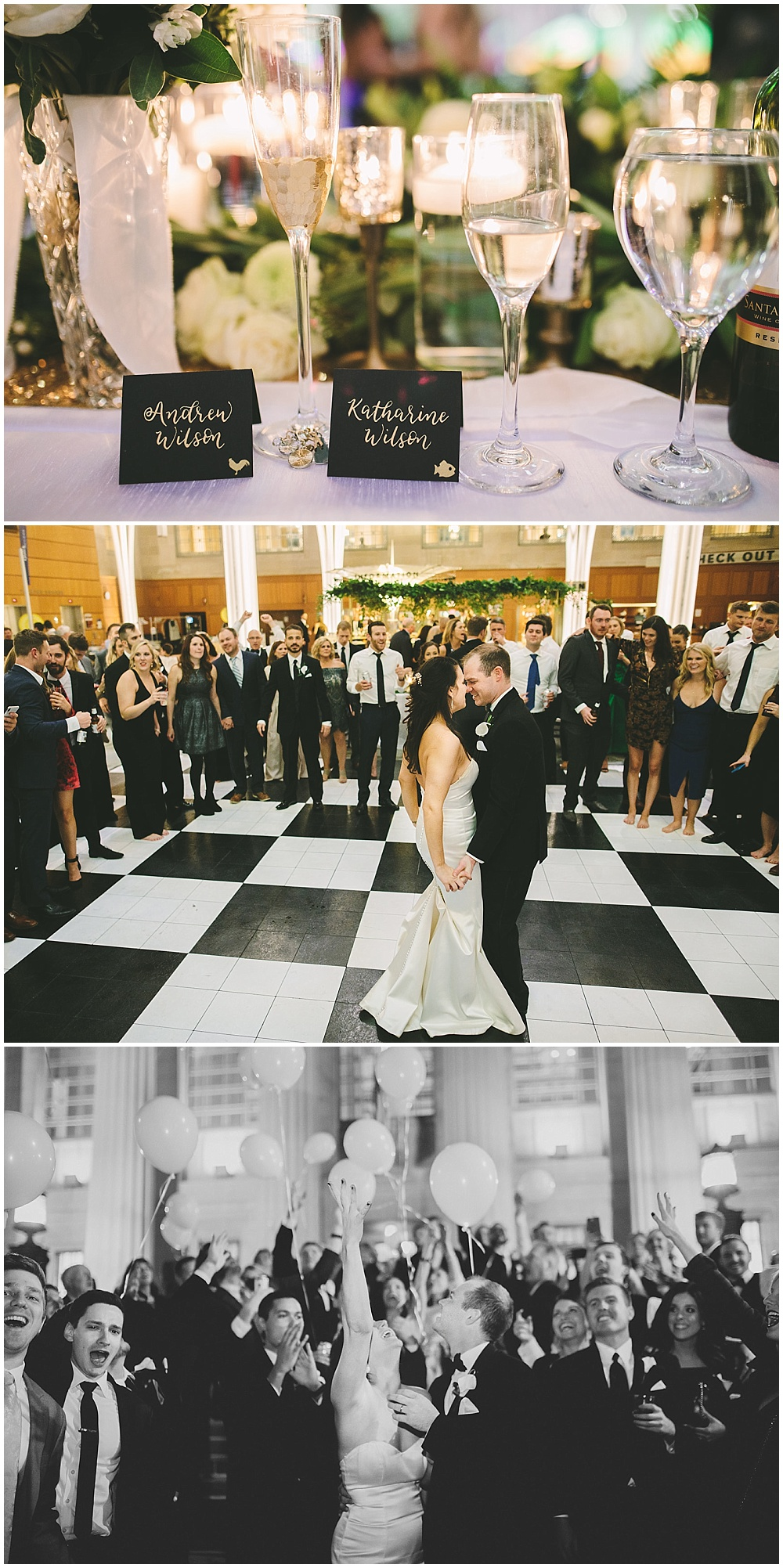 A timeless, modern wedding celebration at the Indianapolis Public Library. A black and white wedding with gold accents, a checkered dance floor and balloon exit at the end of the night. | Jessica Dum Wedding Coordination