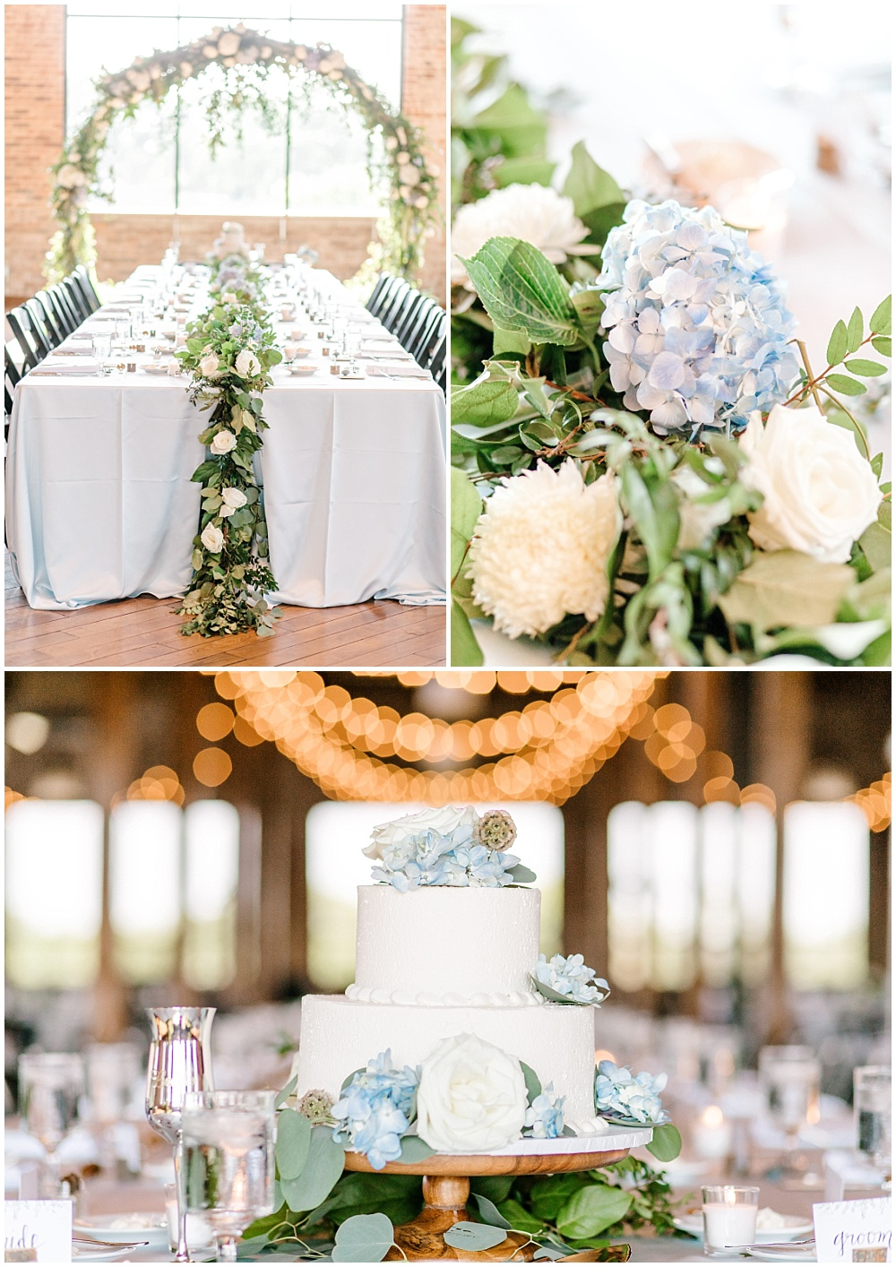 Floral and greenery Head Table arch with greenery cascading down the center; blue and white wedding flowers; simple white cutting cake adorned with fresh flowers and a rustic cake stand | NFL Player Nick Martin's rustic chic summer wedding at the Biltwell Event Center