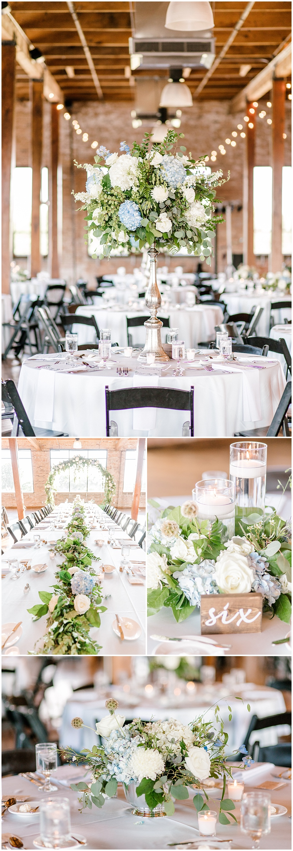Floral and greenery Head Table arch with greenery cascading down the center; blue and white wedding flowers | NFL Player Nick Martin's rustic chic summer wedding at the Biltwell Event Center