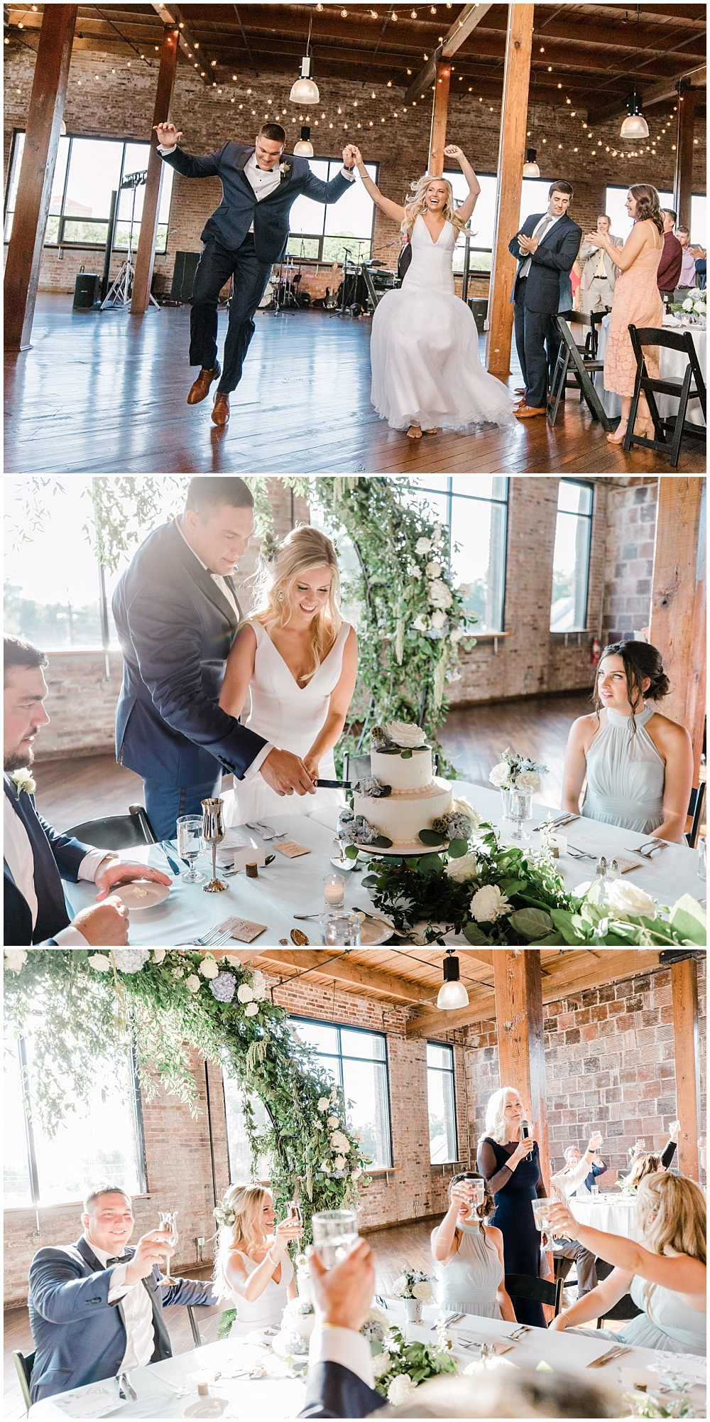 Bride and groom wedding entrance, cake cutting and toasts in front of a gorgeous floral and greenery arch placed behind the Head Table. | NFL Player Nick Martin's rustic chic summer wedding at the Biltwell Event Center