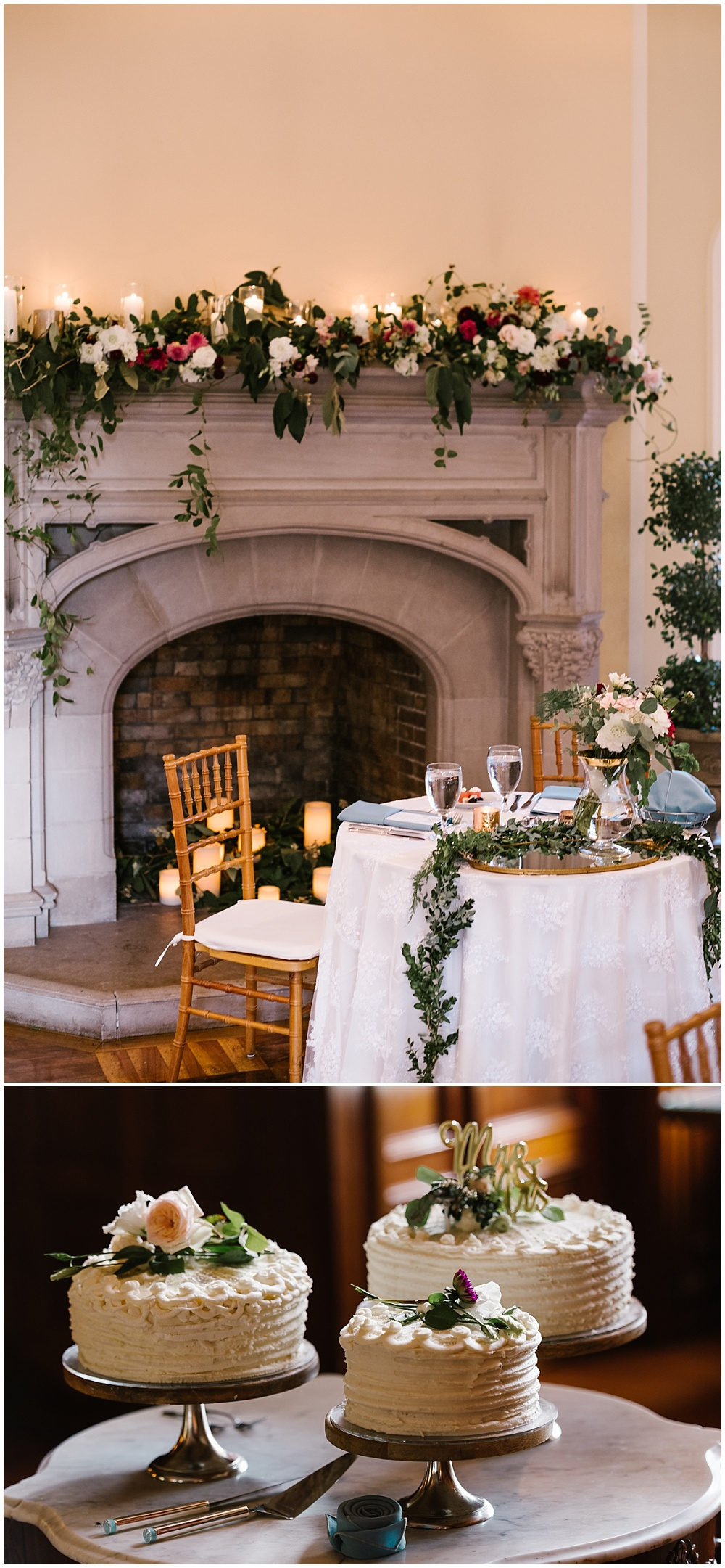 Trio of simple white buttercream wedding cakes atop a marble table and a simple sweetheart table with lush wedding flowers adorning the fireplace backdrop! Fall Indianapolis wedding at Laural Hall with a gorgeous fall wedding color palette and burgundy blooms | Jessica Dum Wedding Coordination