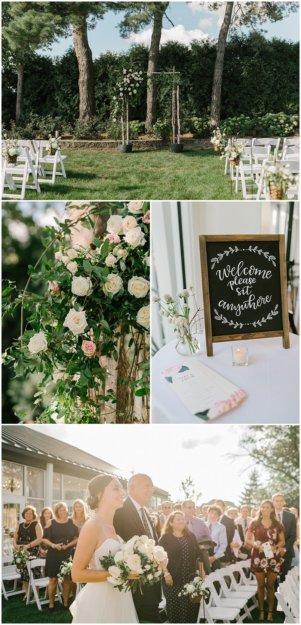 Outdoor garden ceremony backdrop with florals Fall garden-inspired wedding at the Ritz Charles Garden Pavilion in Carmel, Indiana | Jessica Dum Wedding Coordination