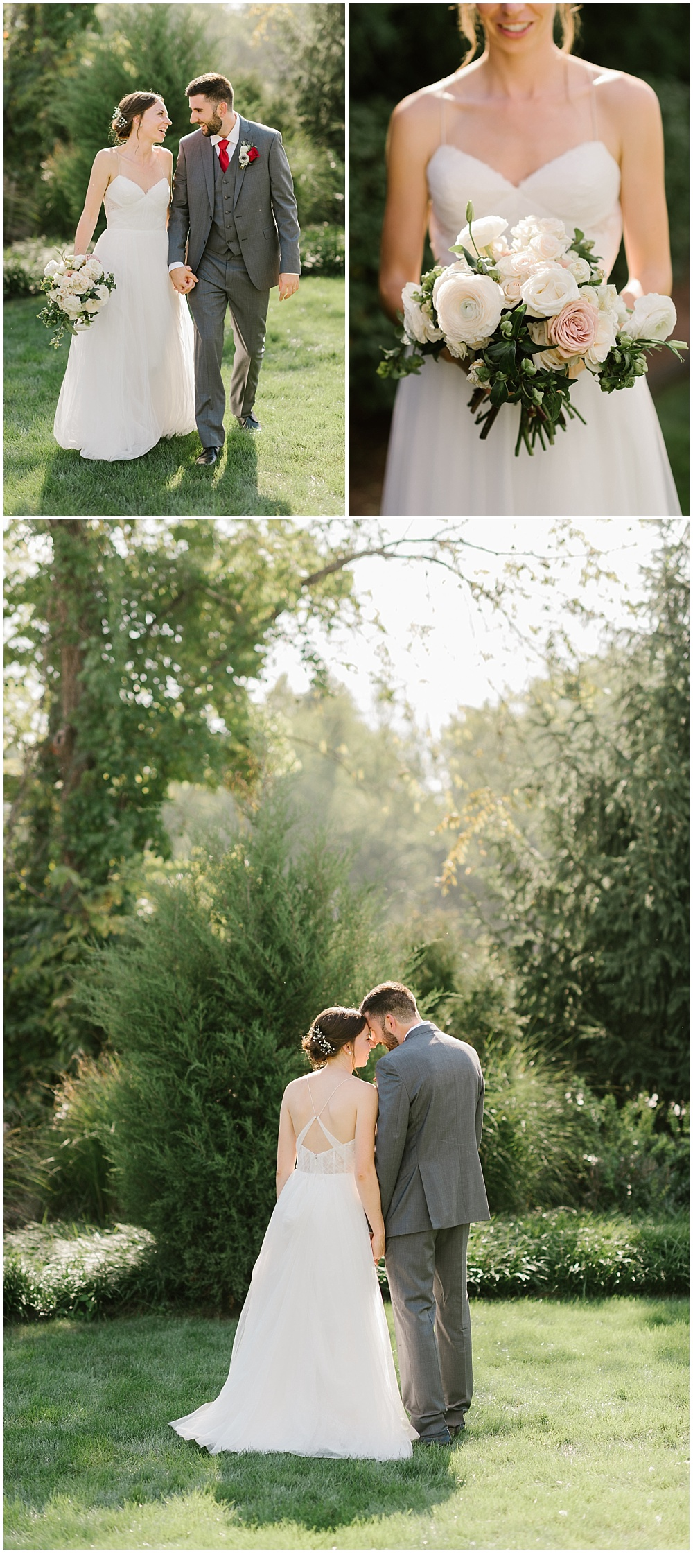Bride and groom outdoor garden portraits and a bridal bouquet made up of white and soft blush flowers Fall garden-inspired wedding at the Ritz Charles Garden Pavilion in Carmel, Indiana   Jessica Dum Wedding Coordination