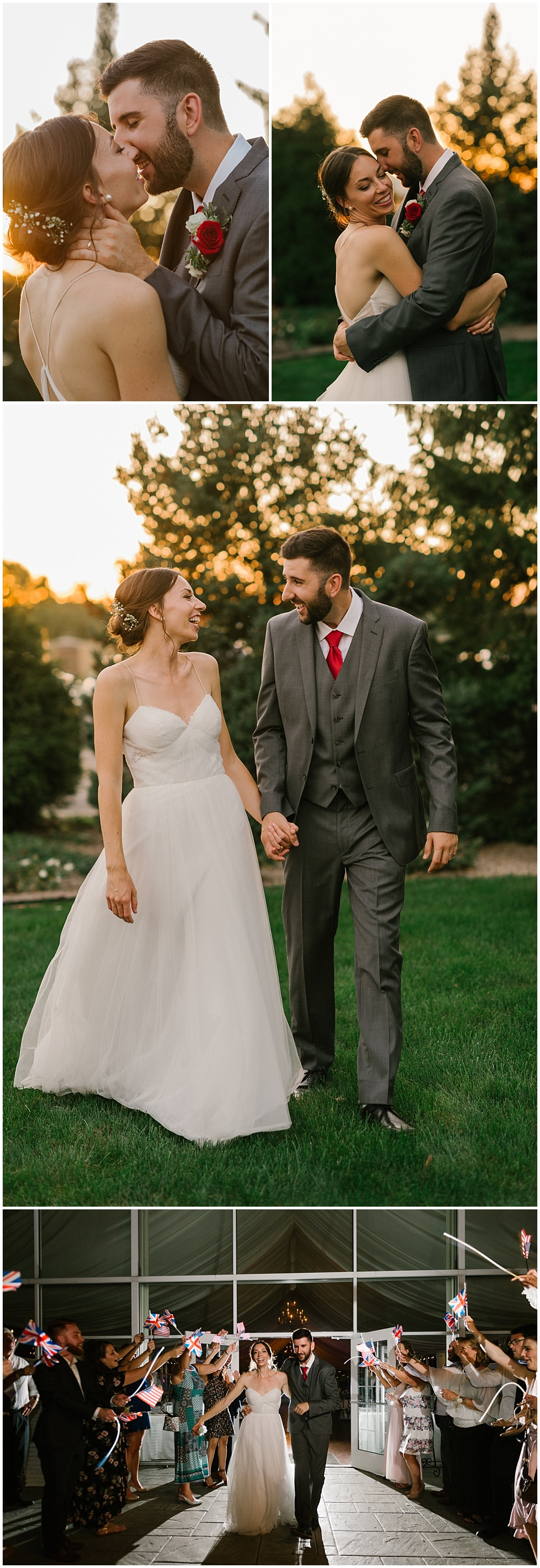 Bride and groom sunset portraits and formal exit with British and American flags Fall garden-inspired wedding at the Ritz Charles Garden Pavilion in Carmel, Indiana   Jessica Dum Wedding Coordination