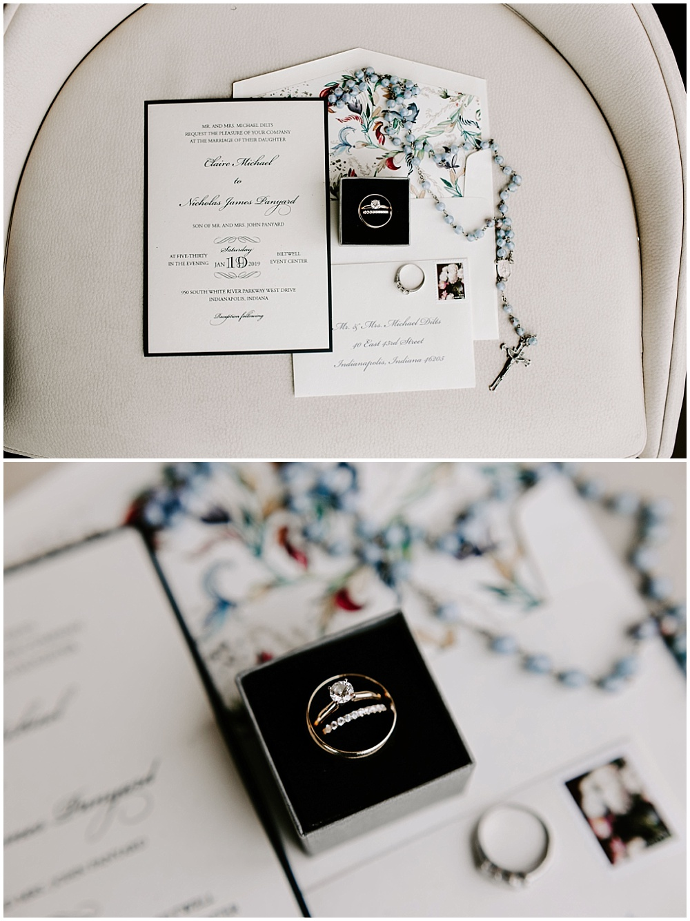 Winter invitation suite flat lay with ring and bridal jewelry details. | Industrial winter wedding at the Biltwell Event Center in downtown Indianapolis alongside Emily Wehner Photography and Jessica Dum Wedding Coordination