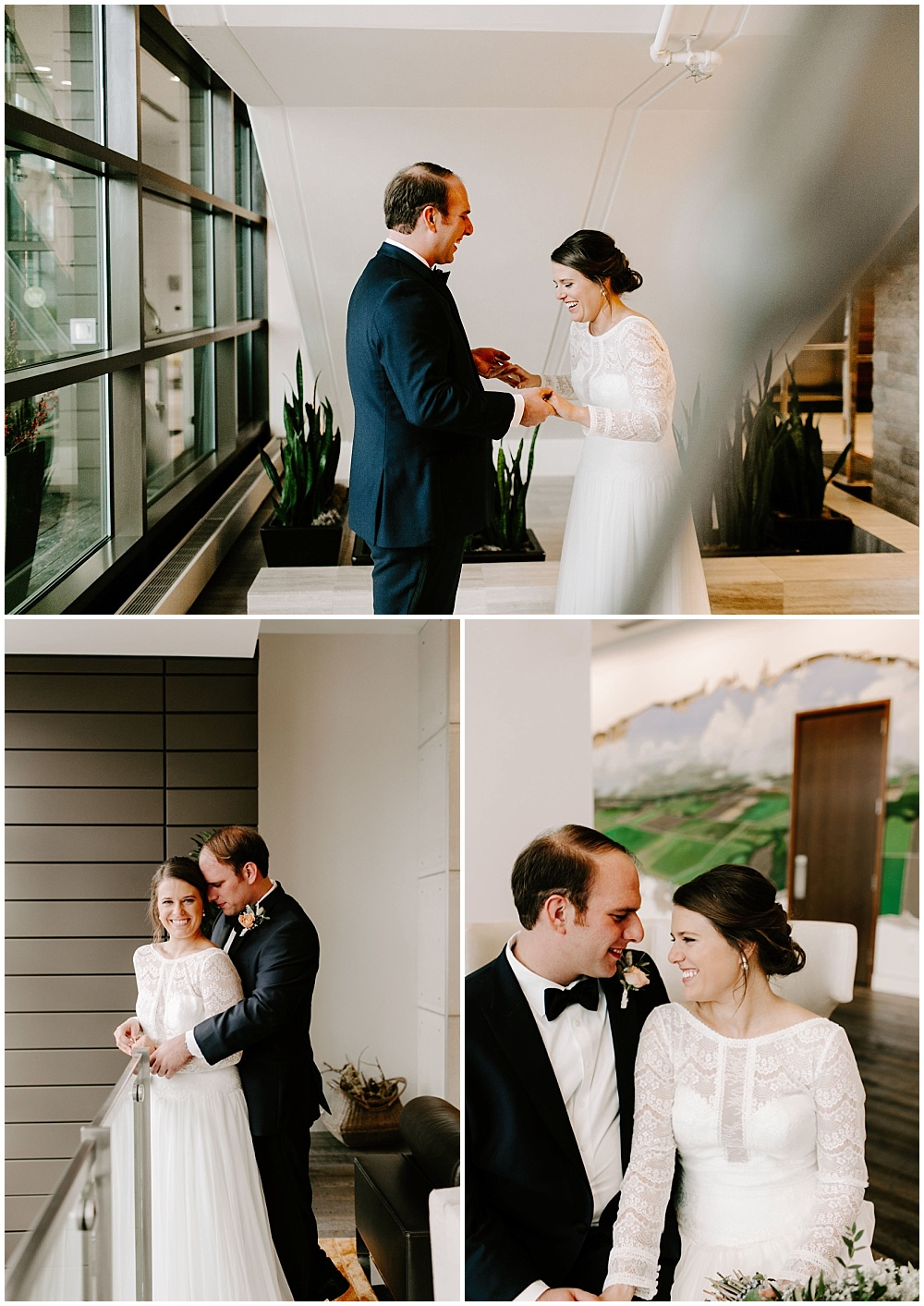 Bride and groom winter wedding portraits. | Industrial winter wedding at the Biltwell Event Center in downtown Indianapolis alongside Emily Wehner Photography and Jessica Dum Wedding Coordination
