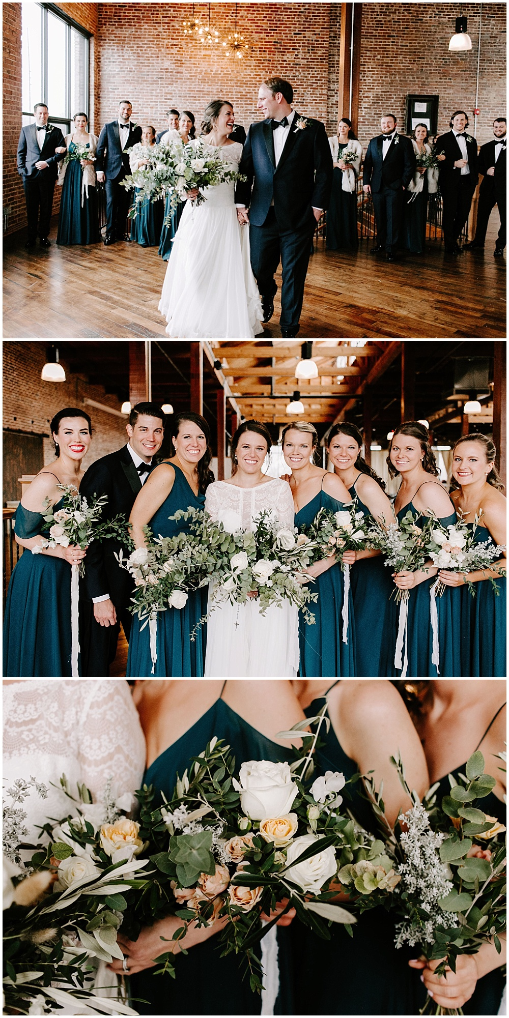 Bridal Party portraits. | Industrial winter wedding at the Biltwell Event Center in downtown Indianapolis alongside Emily Wehner Photography and Jessica Dum Wedding Coordination