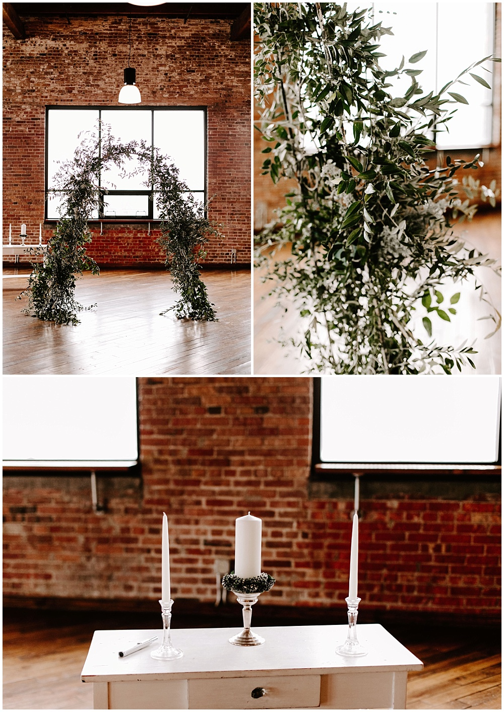 Ceremony arch made out of greenery. | Industrial winter wedding at the Biltwell Event Center in downtown Indianapolis alongside Emily Wehner Photography and Jessica Dum Wedding Coordination