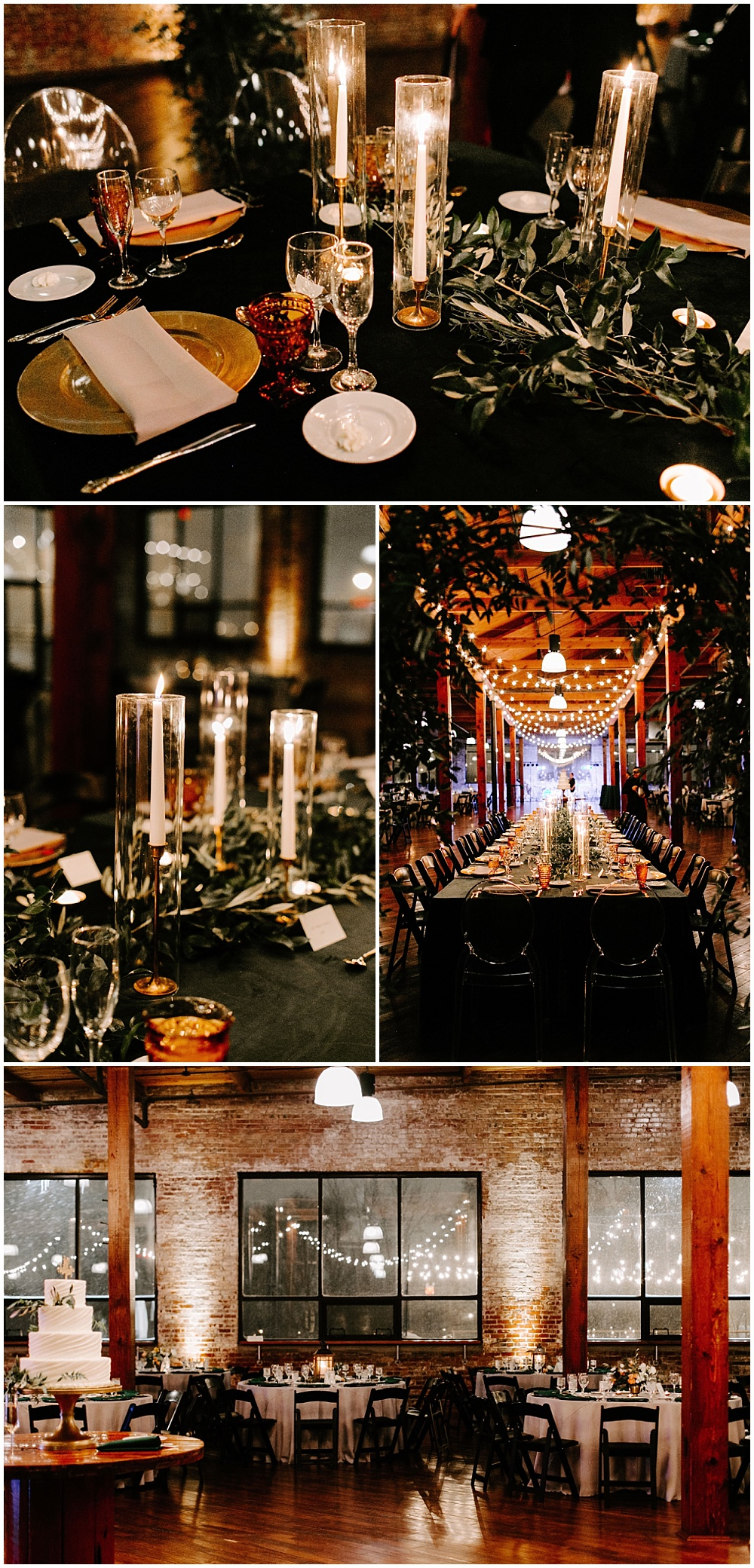 Navy, green and gold wedding tablescape with an abundance of greenery and candlelight scattered down the lengths of the table. | Industrial winter wedding at the Biltwell Event Center in downtown Indianapolis alongside Emily Wehner Photography and Jessica Dum Wedding Coordination