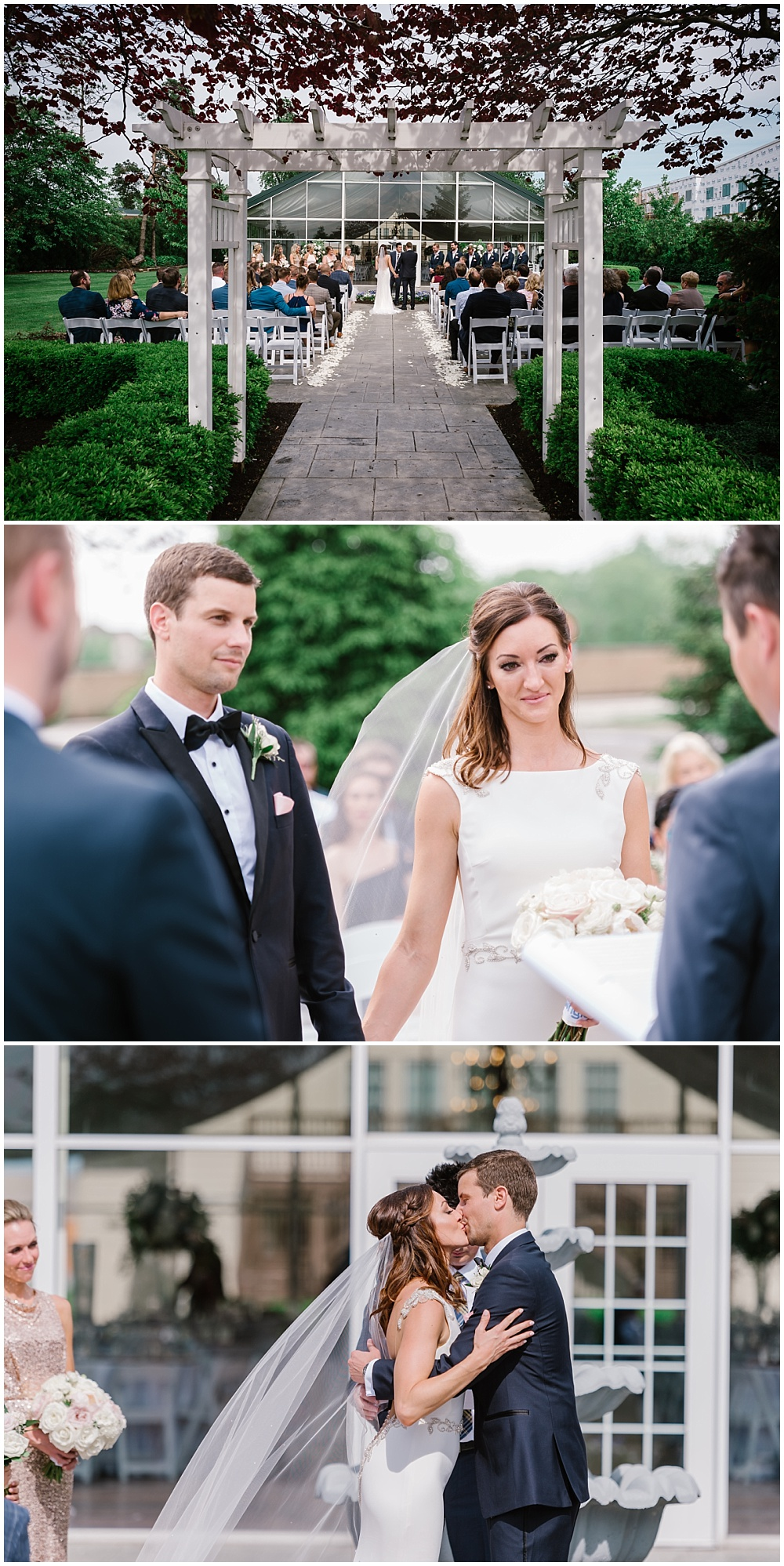 Spring outdoor terrace ceremony. | Spring blush garden-inspired memorial day weekend wedding at the beautiful Ritz Charles Garden Pavilion with Stacy Able Photography and Jessica Dum Wedding Coordination