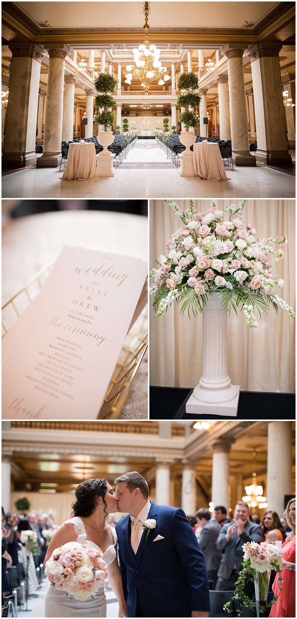 Indiana State House decorated for a blush and gold wedding ceremony.   Spring blush and gold downtown Indianapolis Central Library wedding alongside Evangeline Renee Photography + Jessica Dum Wedding Coordination