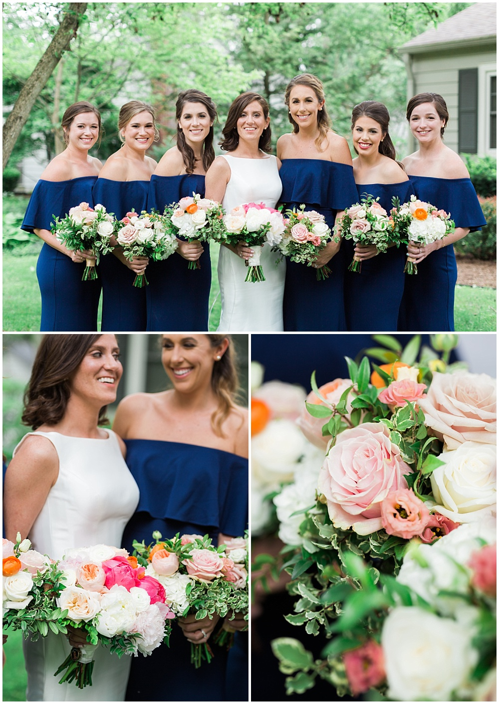 Bridal party portraits with navy off-the-shoulder bridesmaid dresses and cape-cod inspired bridal bouquets. | Coral and navy Cape Cod-inspired downtown Indianapolis library wedding with Gaby Cheikh Photography and Jessica Dum Wedding Coordination