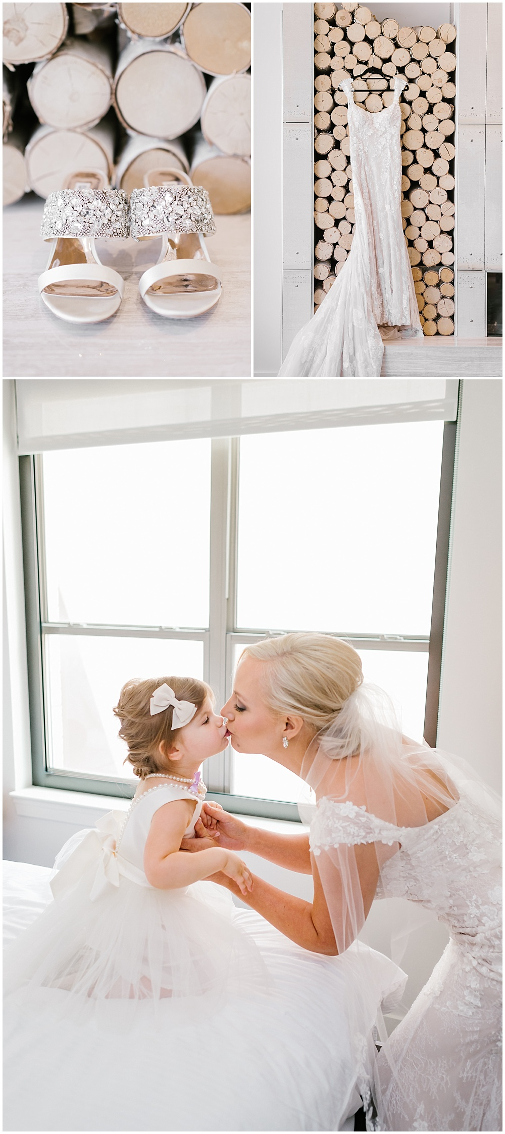 Badgley Mischka wedding shoes, lace wedding dress details and a sweet photo of the bride with her flower girl | A blue and gold downtown Indianapolis spring wedding at the Grand Hall at Historic Union Station with Rebecca Shehorn Photography and Jessica Dum Wedding Coordination is on the blog today!