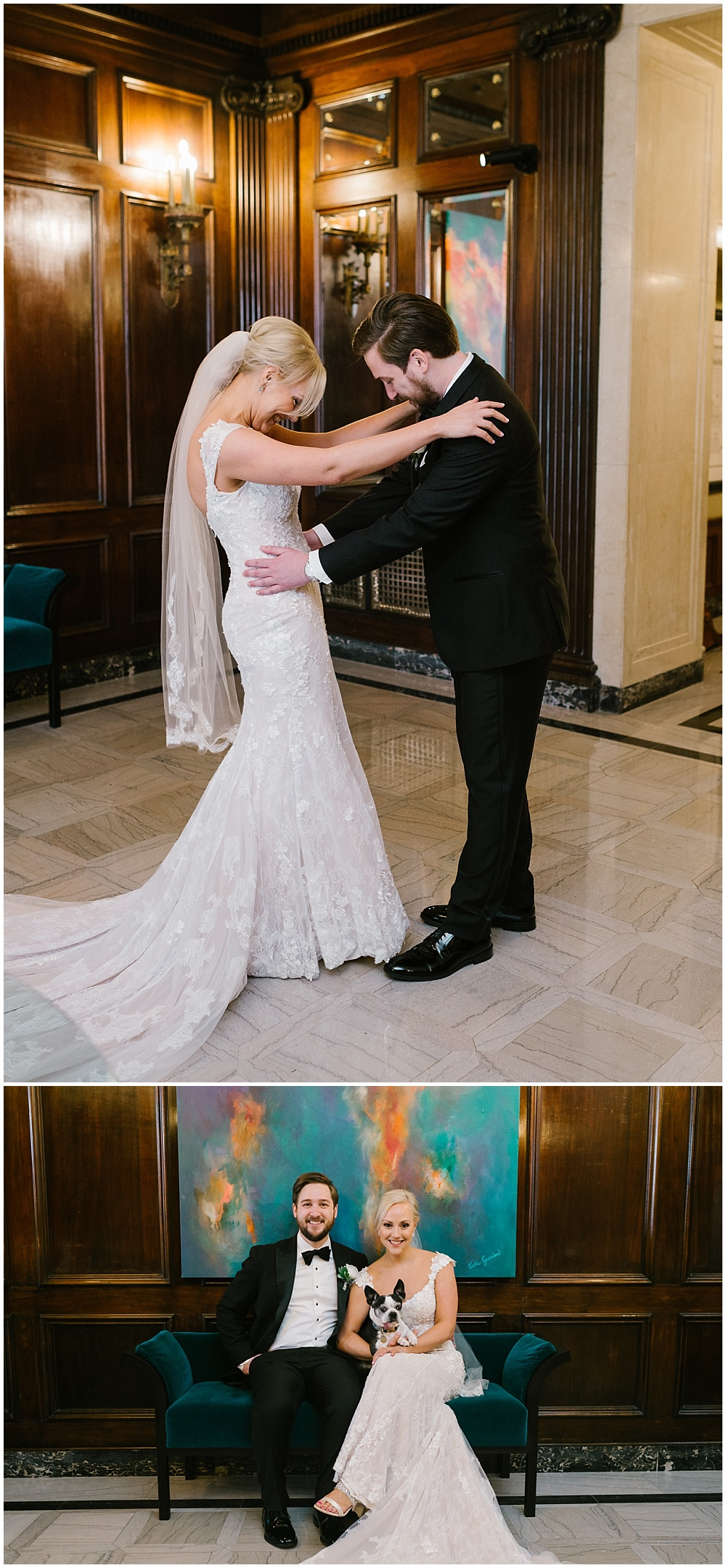Bride and groom first look with their dog | A blue and gold downtown Indianapolis spring wedding at the Grand Hall at Historic Union Station with Rebecca Shehorn Photography and Jessica Dum Wedding Coordination is on the blog today!