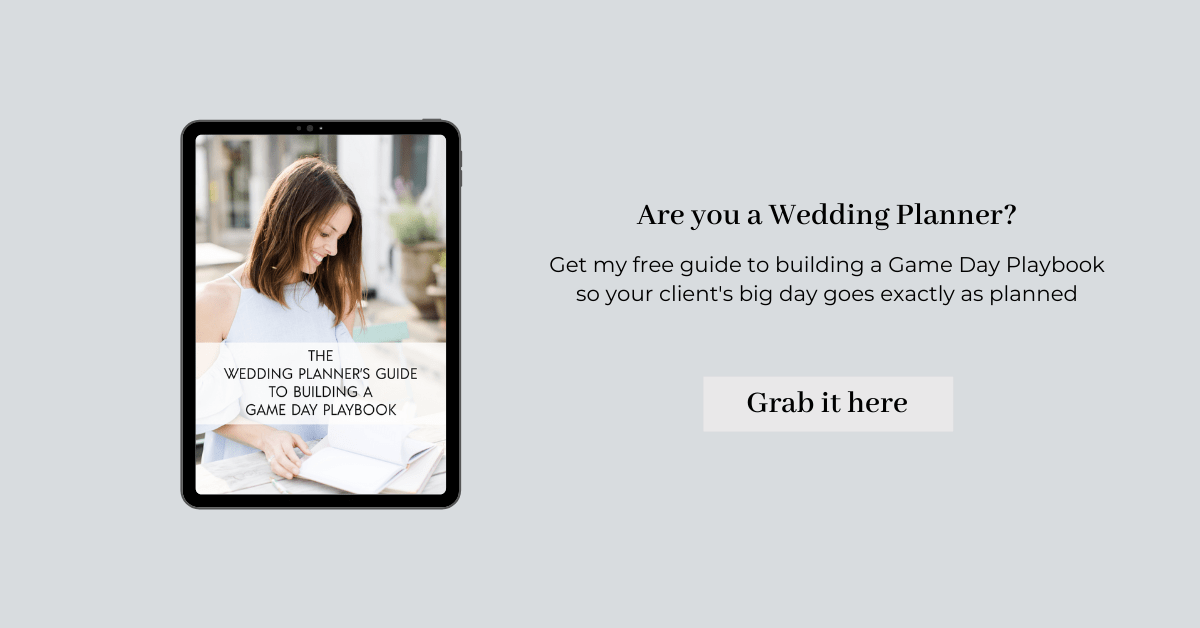 Are you a wedding planner? Get our free guide to building a Game Day Playbook so that your client's big day goes exactly as planned!