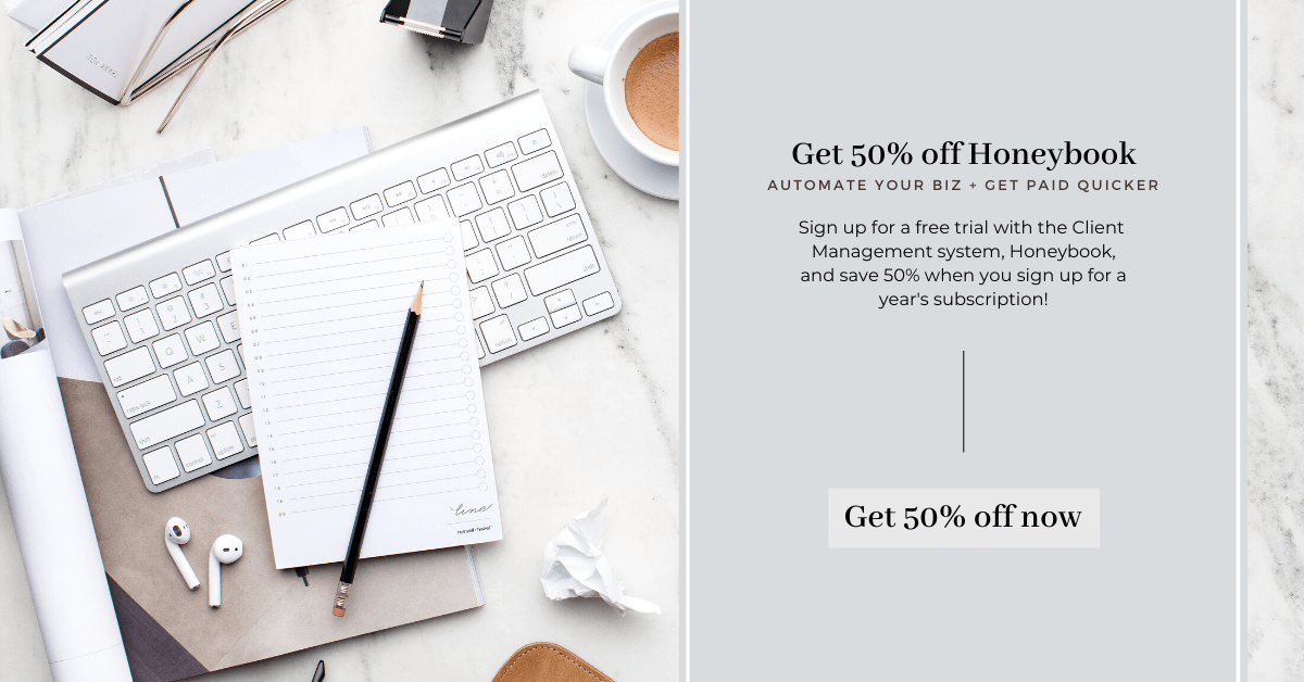 Get a free trial of Honeybook, our trusted Client Management software program, plus 50% off when you sign up!
